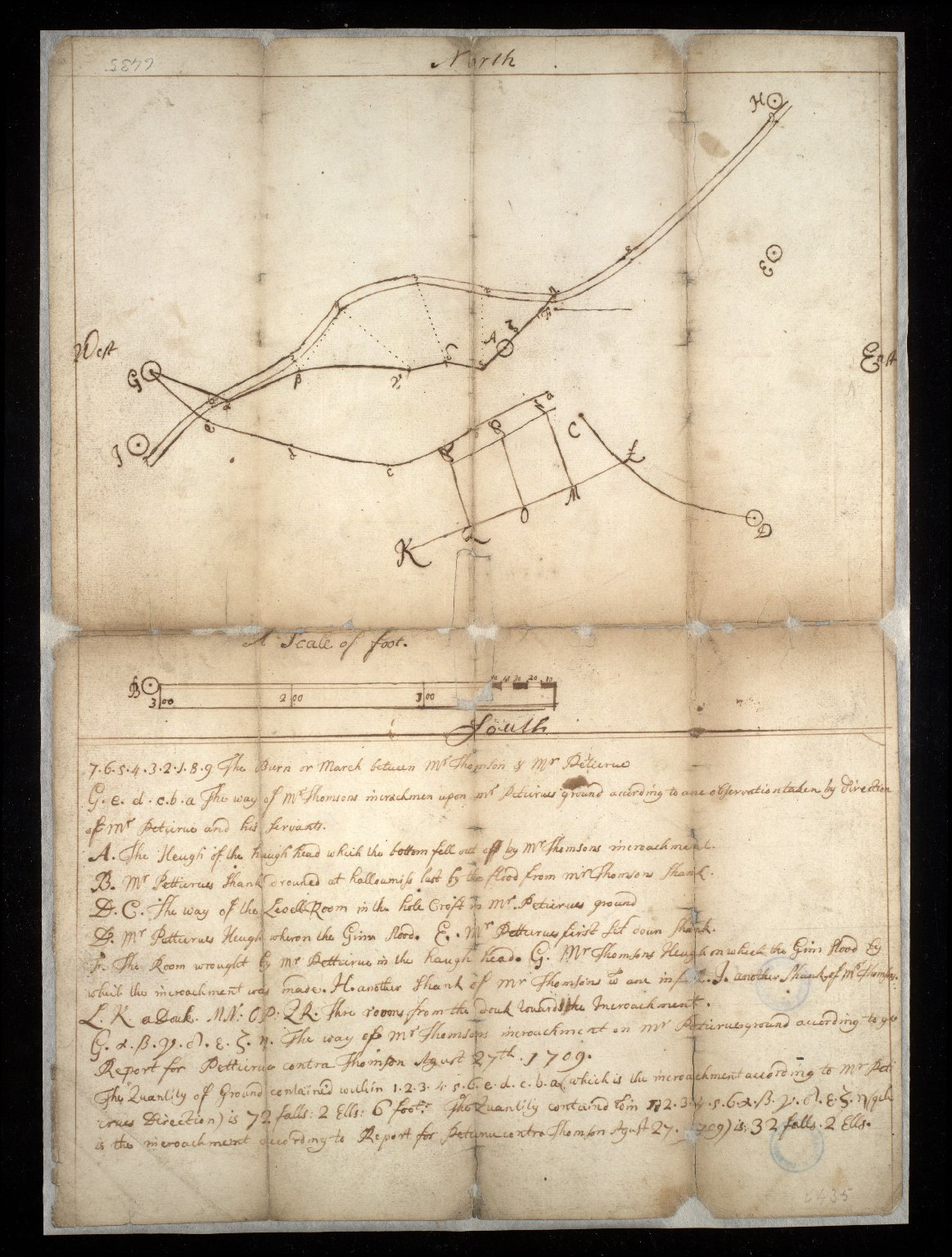 [Sketch plan illustrating a dispute over a march between Mr. Thomson and Mr. Peticure] [1 of 1]