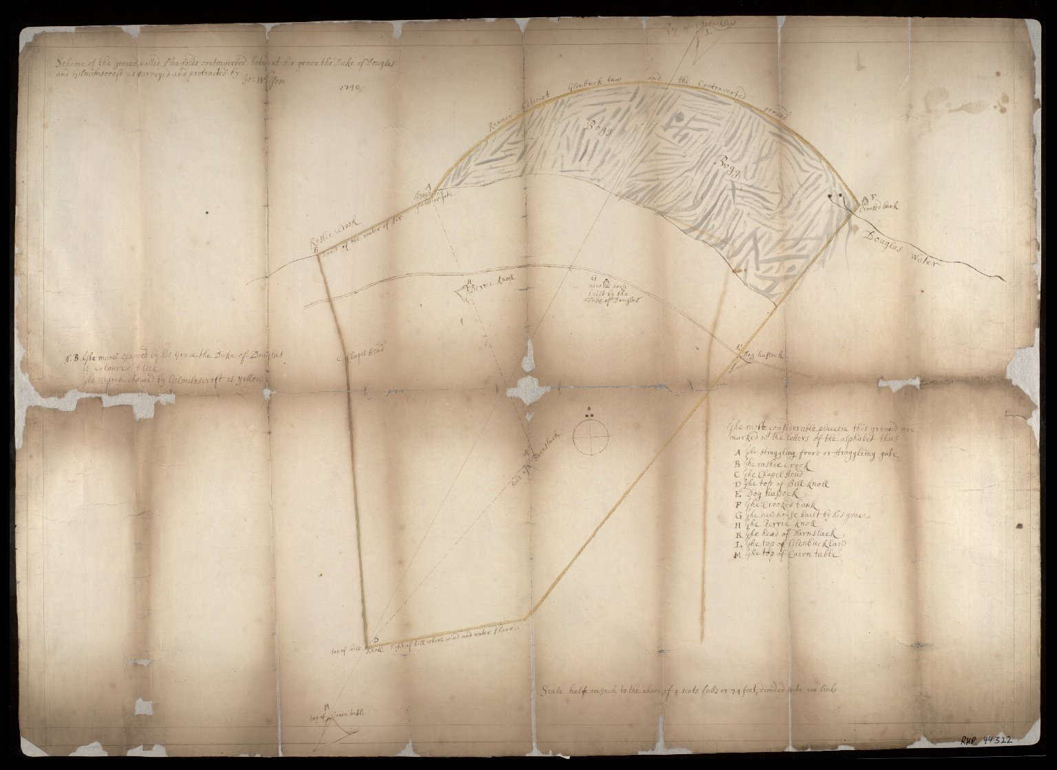 Scheme of the ground called Plea-folds contraverted betwixt his grace the Duke of Douglas and Gilmilnscroft as surveyed and protracted by Jo. Wilson. [1 of 1]