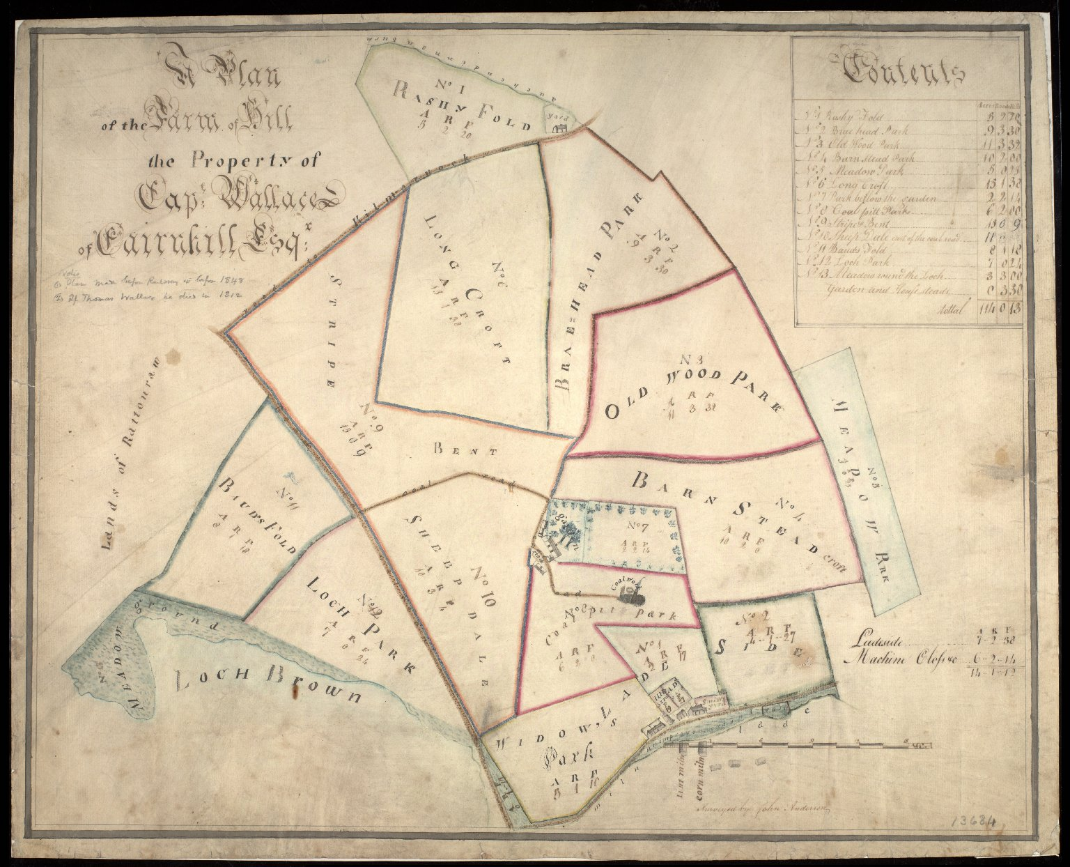 A Plan of the Farm of Hill, the Property of Capt. Wallace of Cairnhill Esq. [1 of 1]