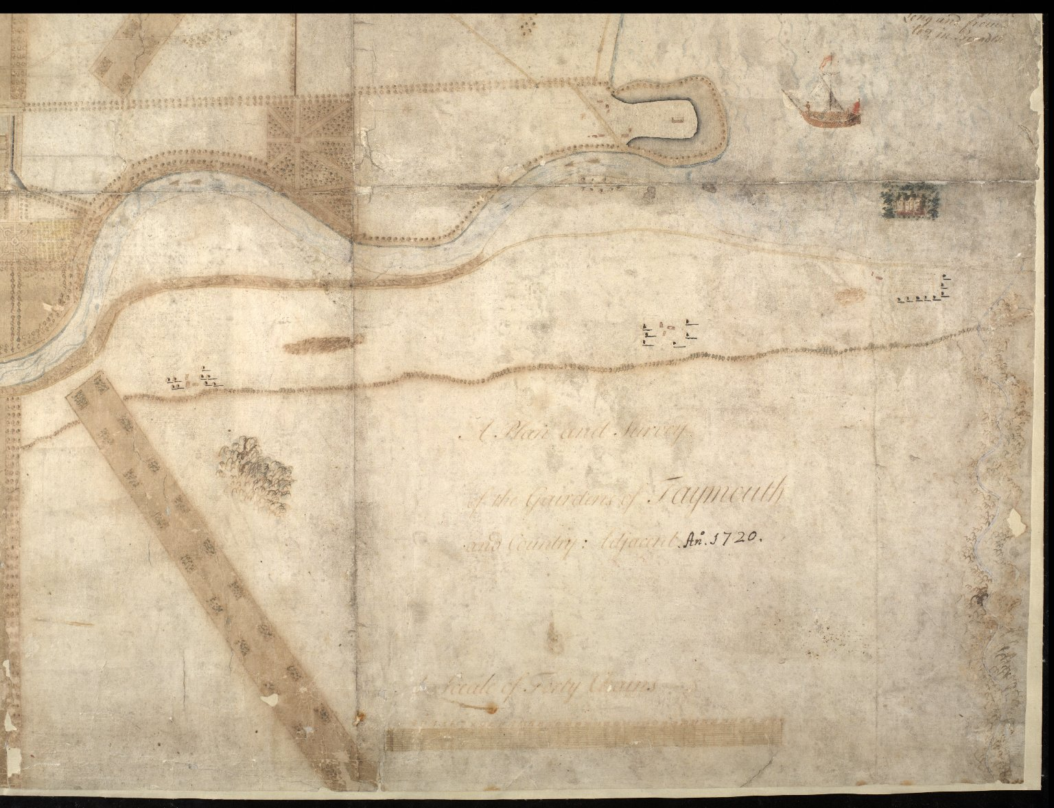 A Plan and Survey of the Gardens of Taymouth [Castle] and County Adjacent. An. 1720. [3 of 4]