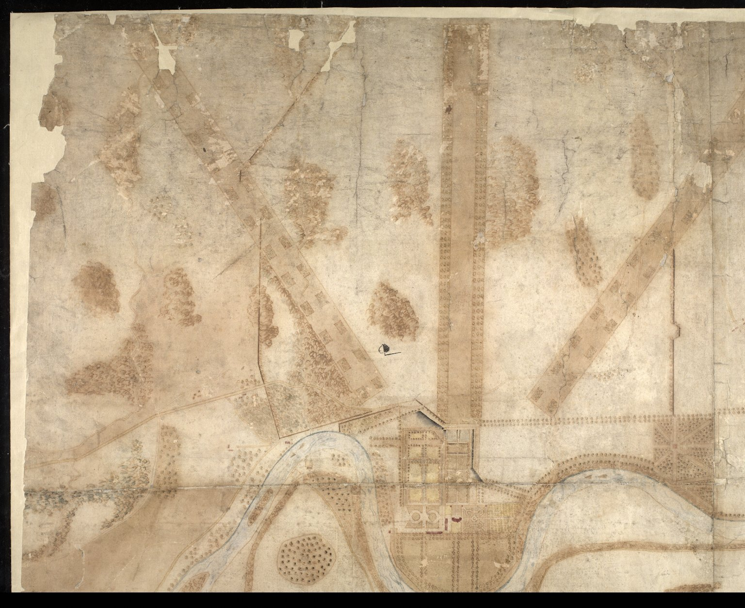 A Plan and Survey of the Gardens of Taymouth [Castle] and County Adjacent. An. 1720. [1 of 4]