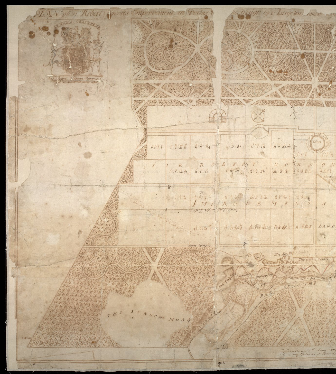 Plan of Sr Robert Gordons Improvements at Dallas [with] the Design of a Large Wilderness to be pla[nted] [2 of 2]