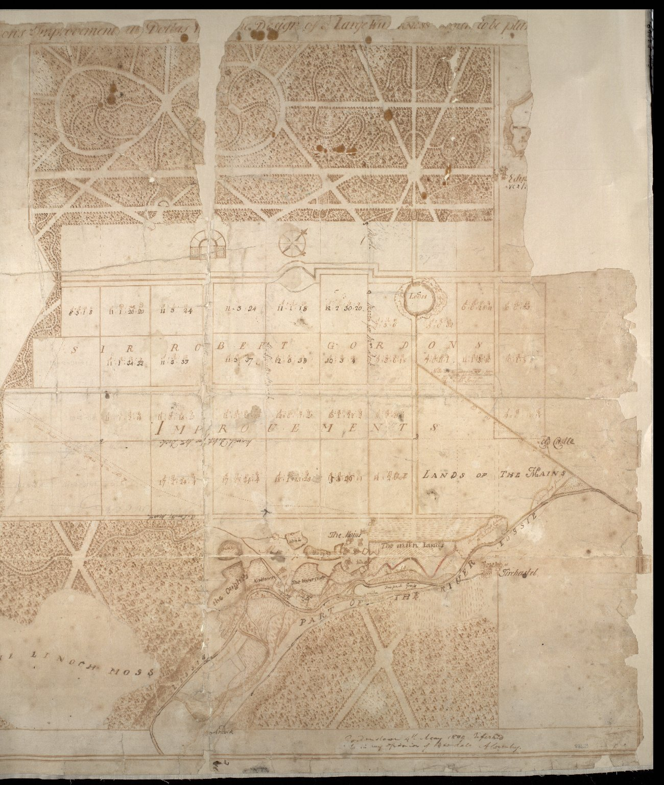 Plan of Sr Robert Gordons Improvements at Dallas [with] the Design of a Large Wilderness to be pla[nted] [1 of 2]