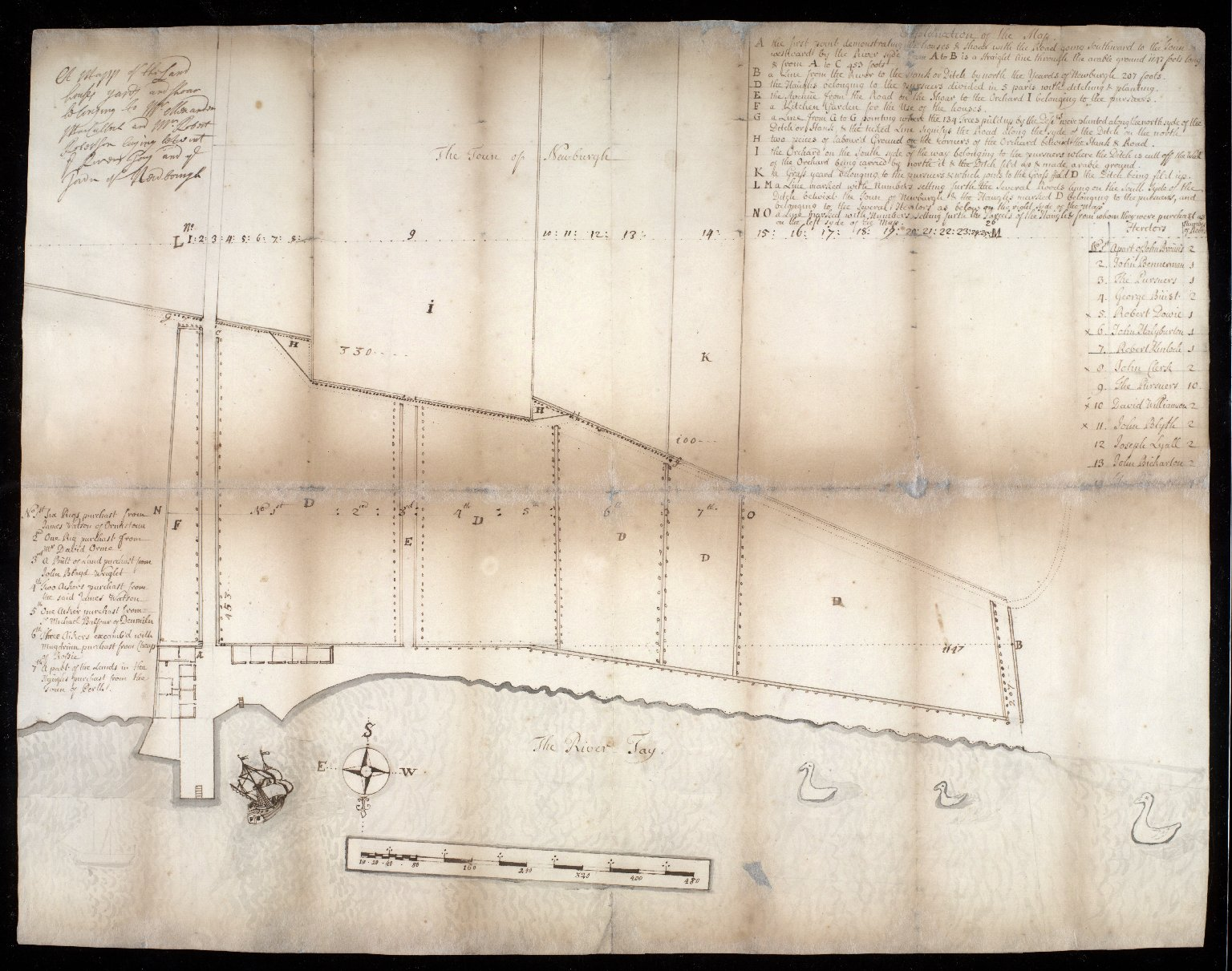 A mappe of the Land [...] yards [...] belonging to [...] MacCulloch and Mr. Robert Robertson laying [...] River Tay and ye Town of Newburgh. [1 of 1]