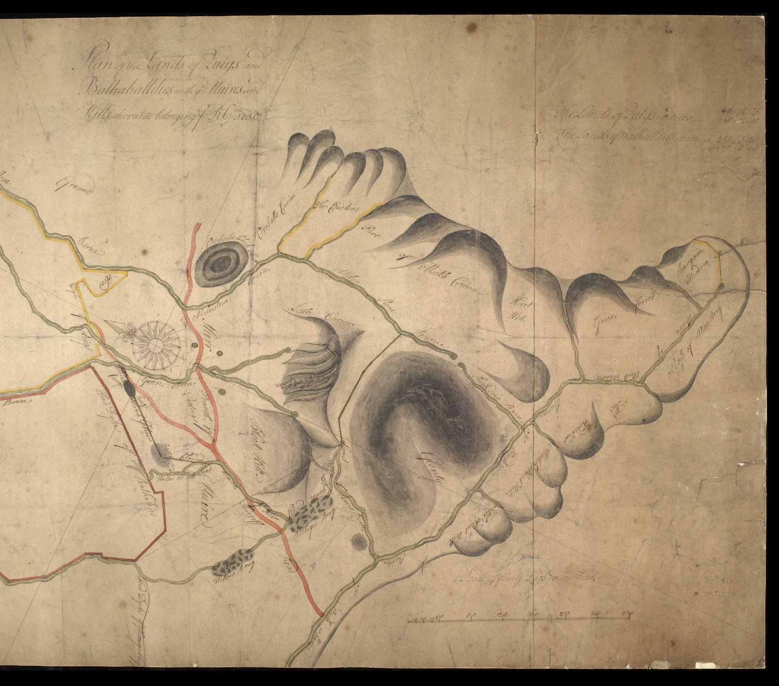 Plan of the Lands of Quigs [i.e. Quoigs] and Balhalldies [i.e. Balhaldie] with ye Muirs and Hills thereunto belonging to RO, 1736. [2 of 2]