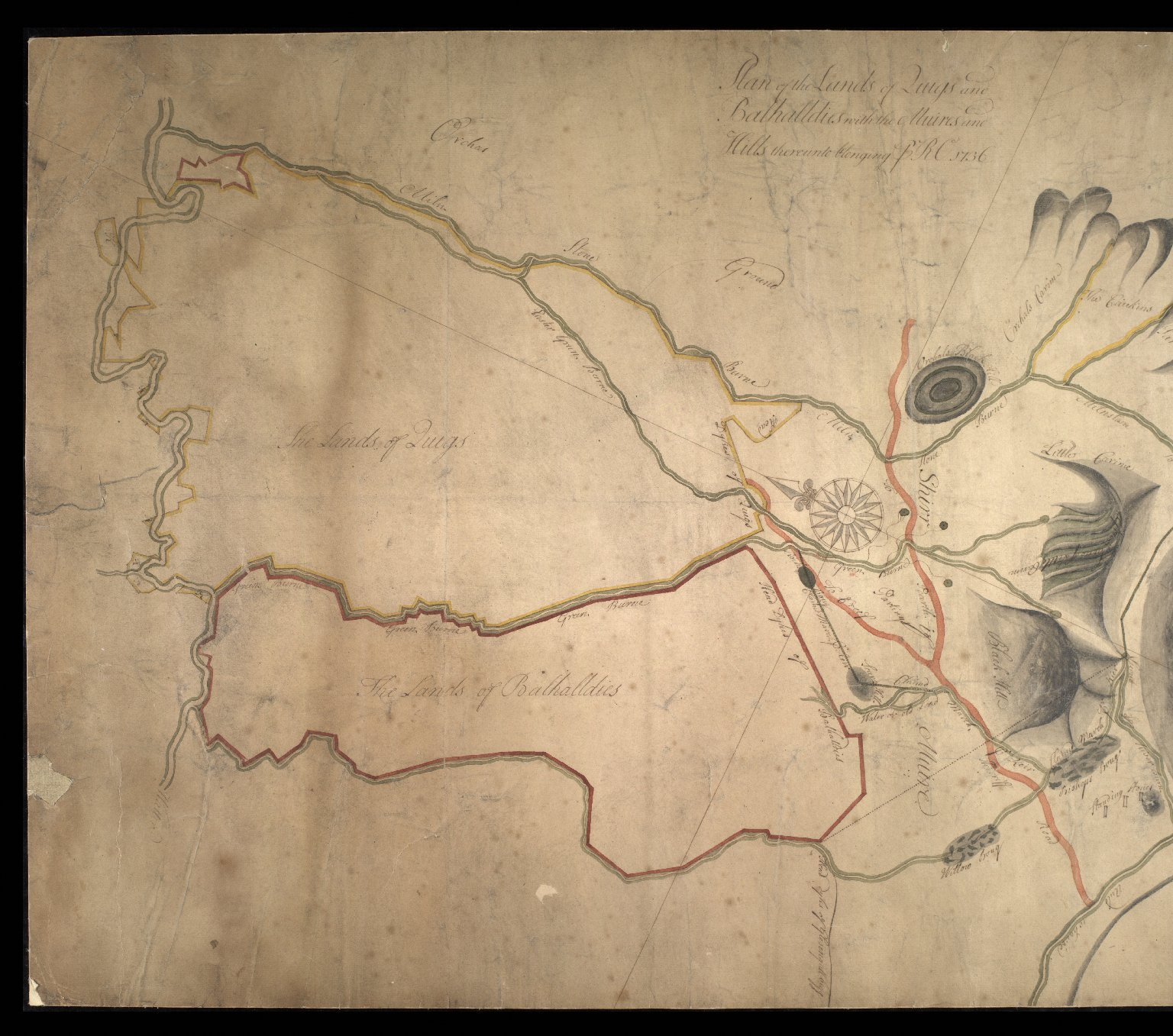 Plan of the Lands of Quigs [i.e. Quoigs] and Balhalldies [i.e. Balhaldie] with ye Muirs and Hills thereunto belonging to RO, 1736. [1 of 2]