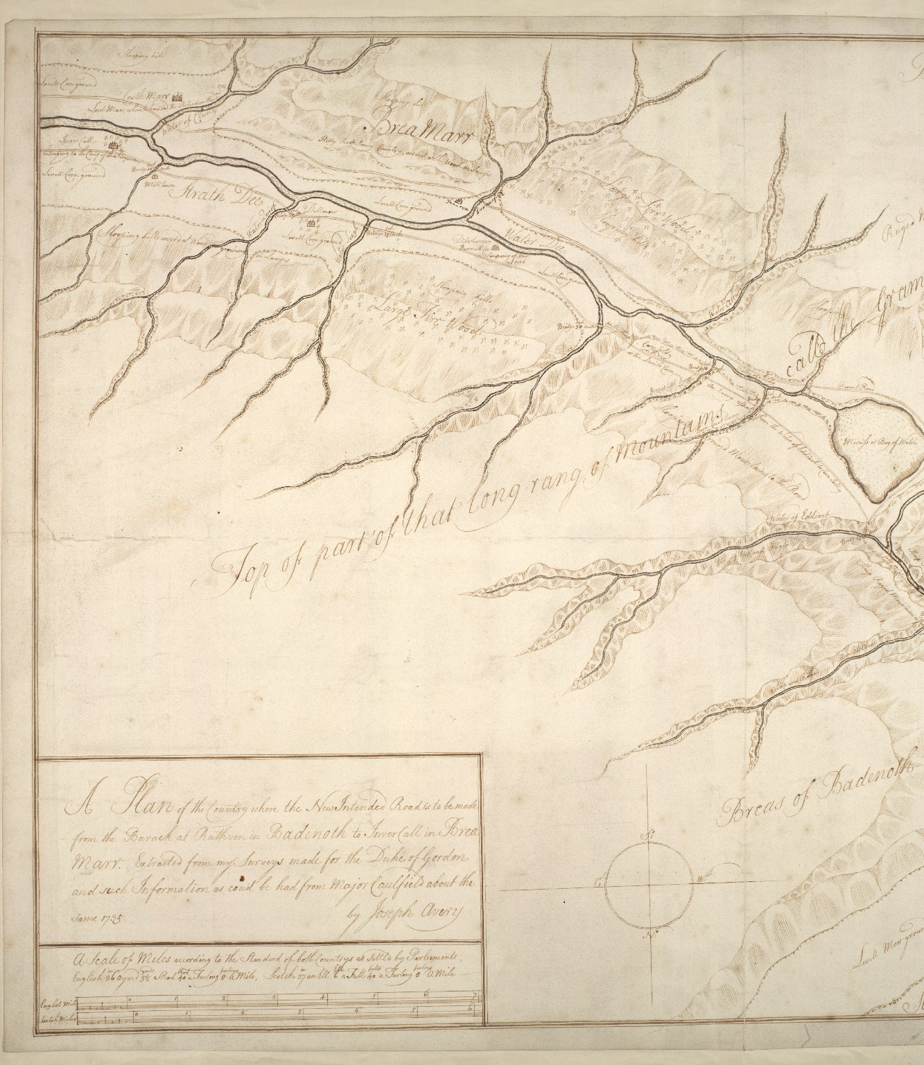 Plan of the County where the New Intended Road is to be made from the Barack at Ruthven in Badenoch to Invercall in Braemar [2 of 2]