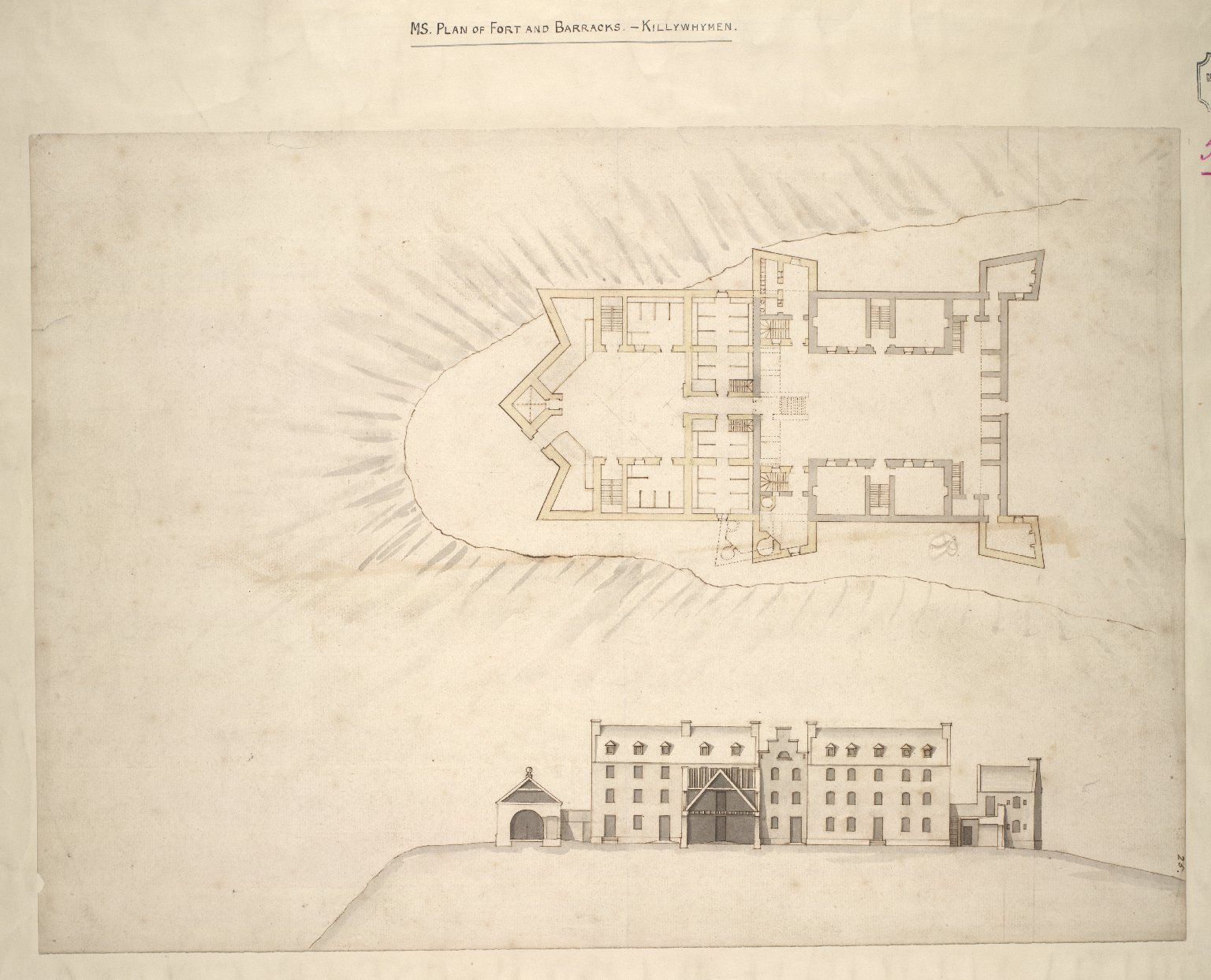 Plan of Fort and Barracks. - Killywhymen. [1 of 2]