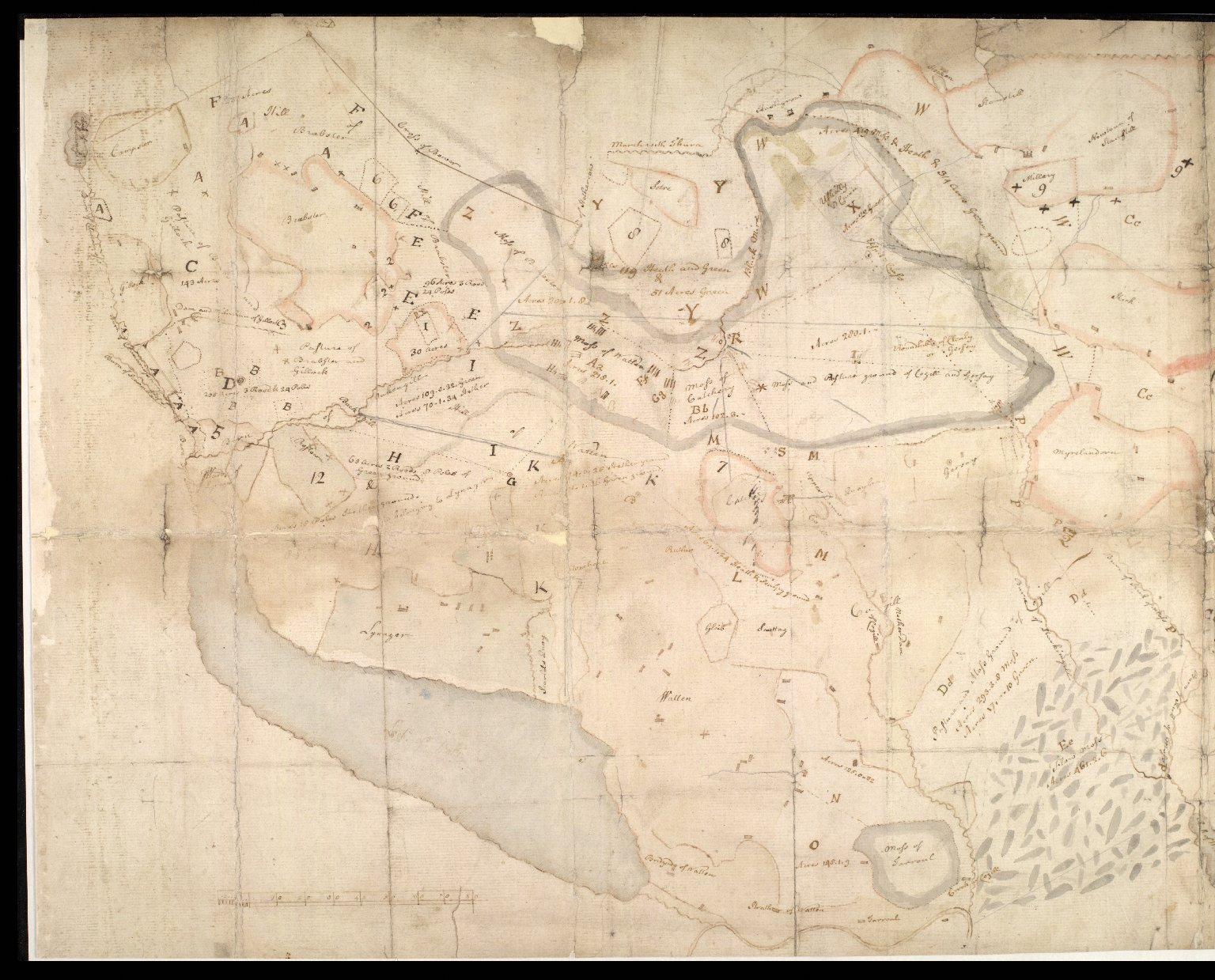 [Plan of the lands of Lynegar, Brabster and Watten] [1 of 2]