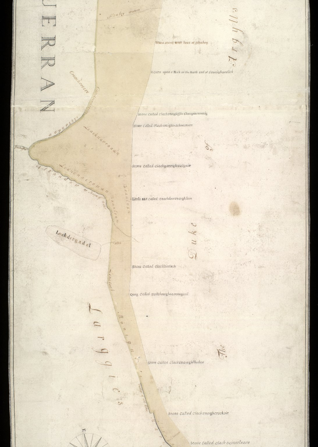 A map of the grounds in dispute betwixt his grace the Duke of Argyll and Greenwich and John McDonald of Larggie. [2 of 3]