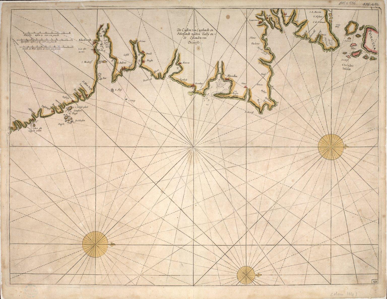De Custen van Engelandt en Schotlandt tusschen Tinbij en de Eijlanden van Orcanesse. [1 of 1]