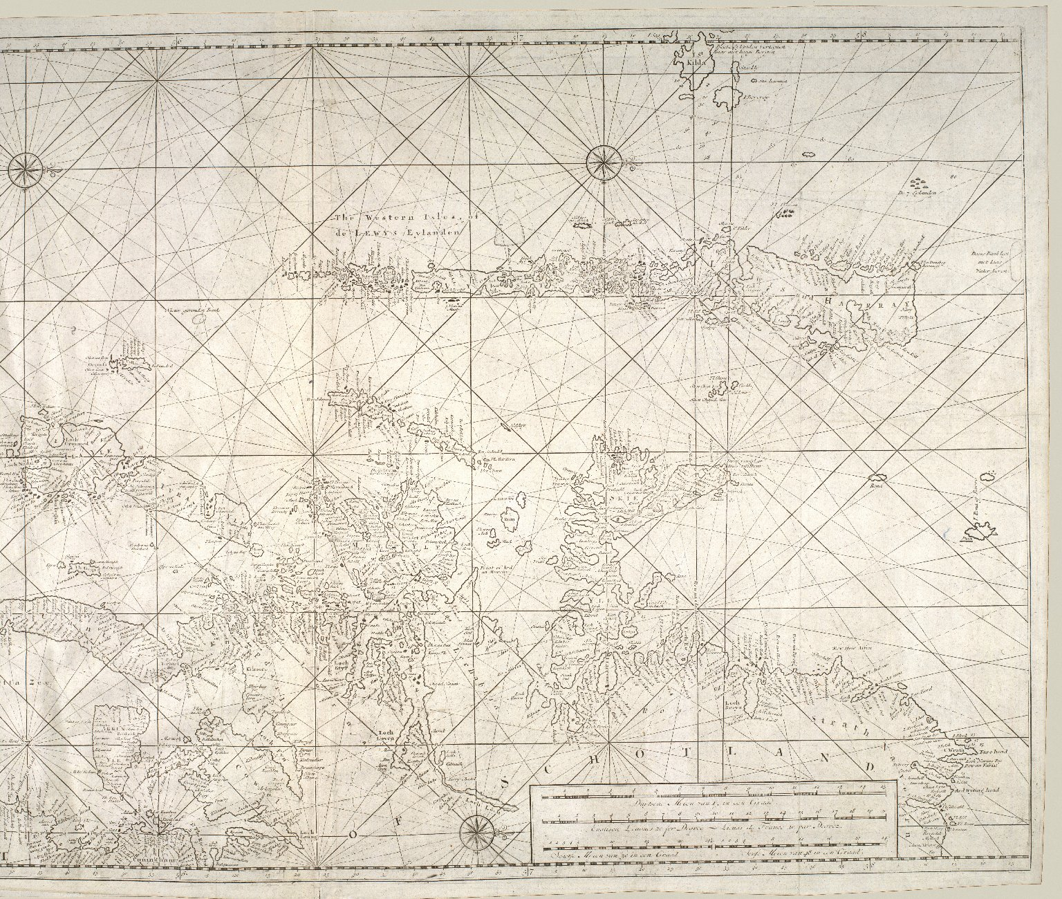 Nieuwe paskaart van de west kust van Schotlandt, de Lewys eylanden en de noord kust van Yrland : beginnende van C. Wrath of de Noordilykstc heck van Schotlandt tot in het St. Ioris Kanaal [2 of 2]