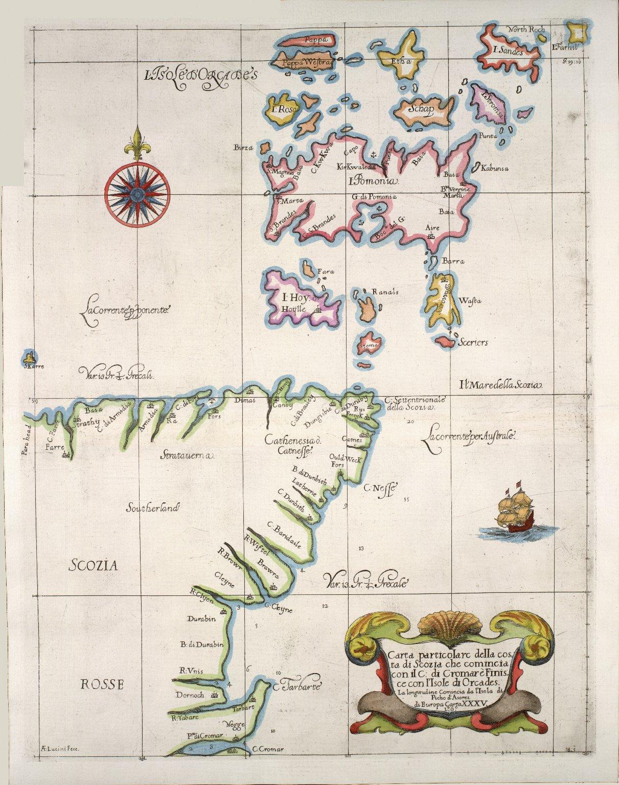 Carte particolare della costa di Scozia : che comincia con il C: di Cromare è Finis ce con I'Isole di Orcades. La longitudine Comincia da l'Isola di Picho d'Asores di Europa Carta XXXV [1 of 1]