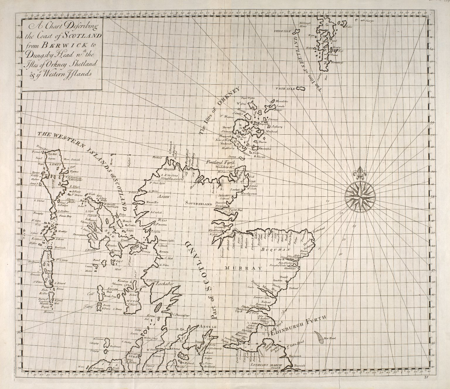 A Chart Describing the Coast of Scotland from Berwick to Dungsby Head wth the Isles of Orkney Shetland & ye Western Islands. [1 of 1]