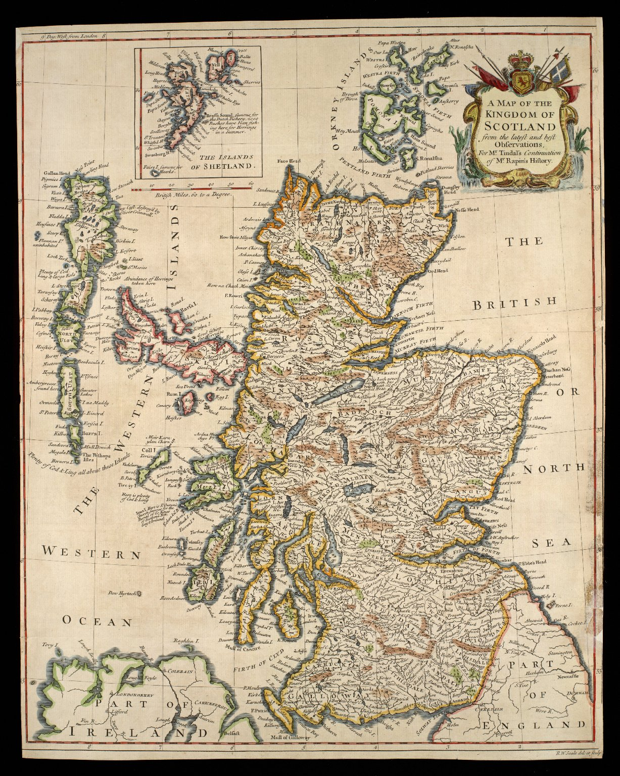 A Map of the Kingdom of Scotland from the latest and best observations, for Mr. Tindal's Continuation of Mr. Rapin's History [1 of 1]