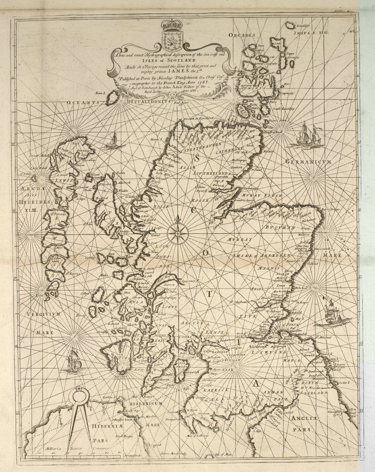 A true and exact Hydrographical description of the Sea coast and Isles of Scotland made in Voyage round the same by that great and mighty James the 5th. [1 of 1]