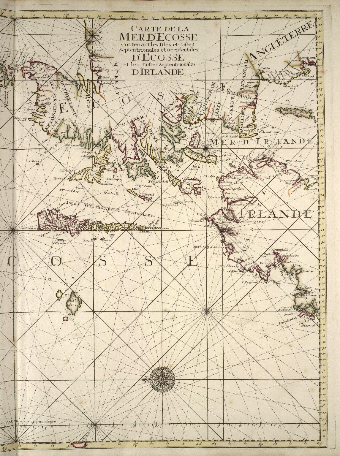 Carte de la Mer d'Ecosse contenant les isles et costes septrentrionales et occidentales d'Ecosse et les costes septentrionales d' Irlande. [1 of 2]