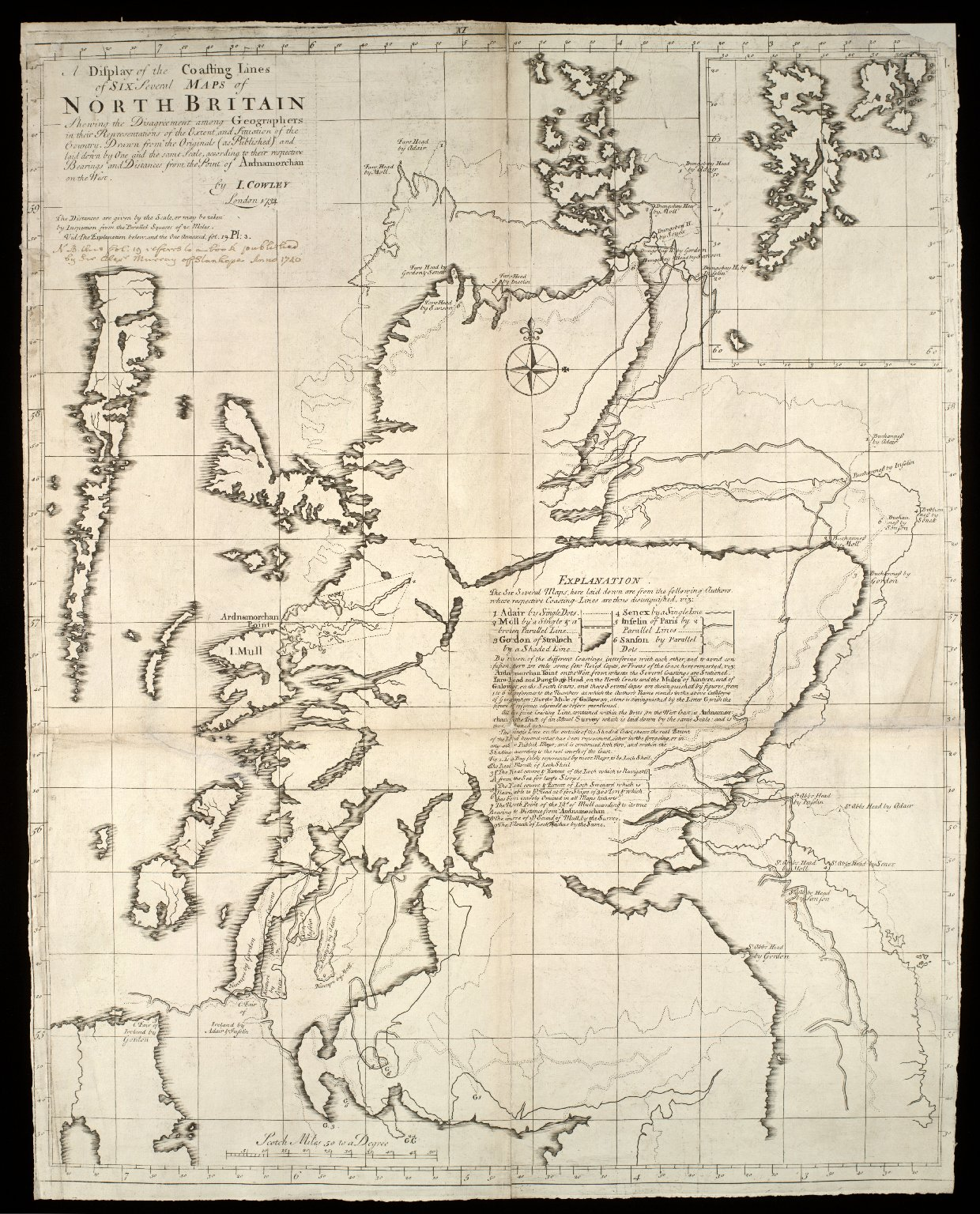 A Display of the Coasting Lines of six several maps of North Britain [Adair, Moll, Gordon of Straloch, Senex, Inselin, Sanson] [1 of 2]
