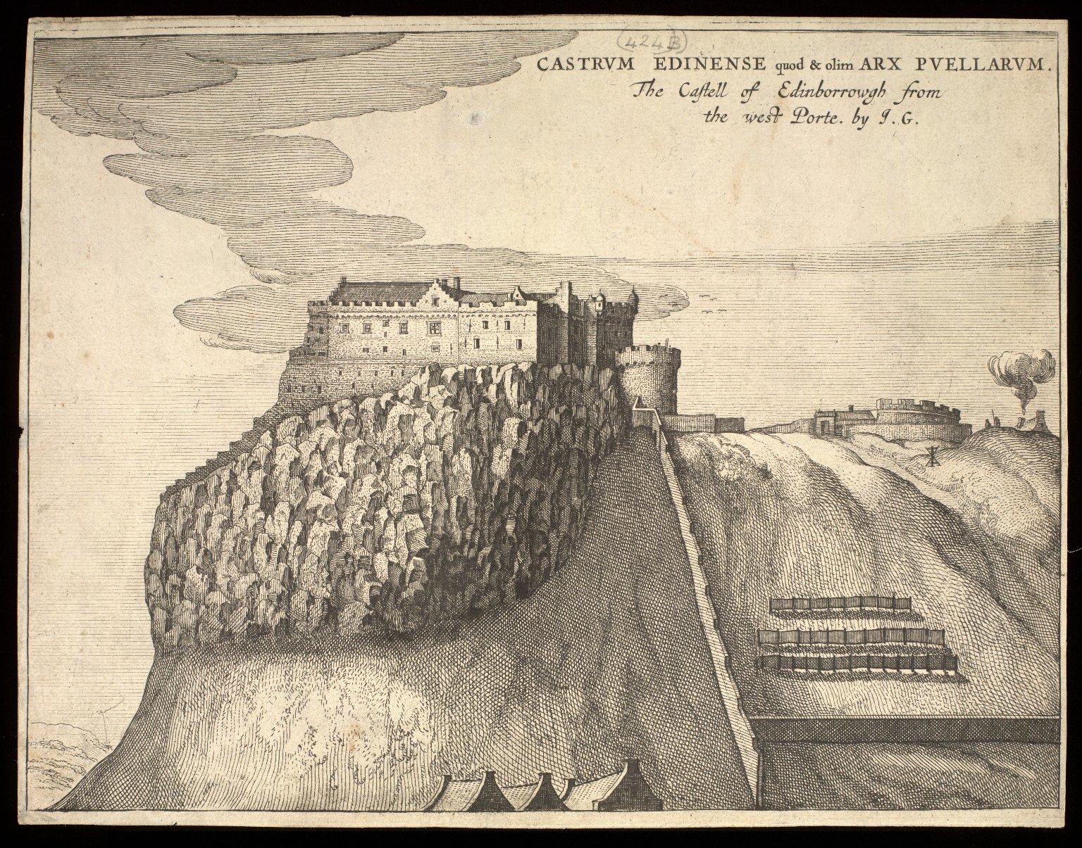 Castrum Edinense quod olim Arx Puellarum = The castell of Edinborrowgh from the west porte [1 of 1]