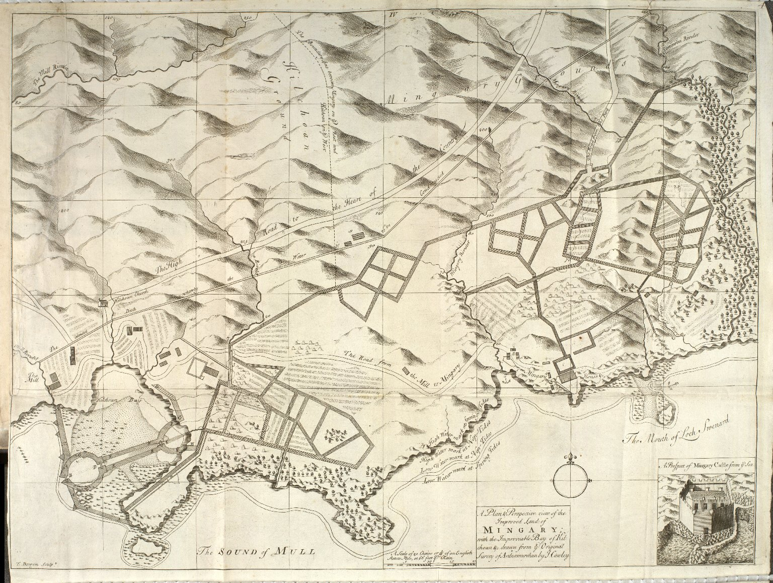 A Plan & Perspective view of the Improved Land of Mingary with the Improveable [sic] Bay of Kilchoan &c. [1 of 1]