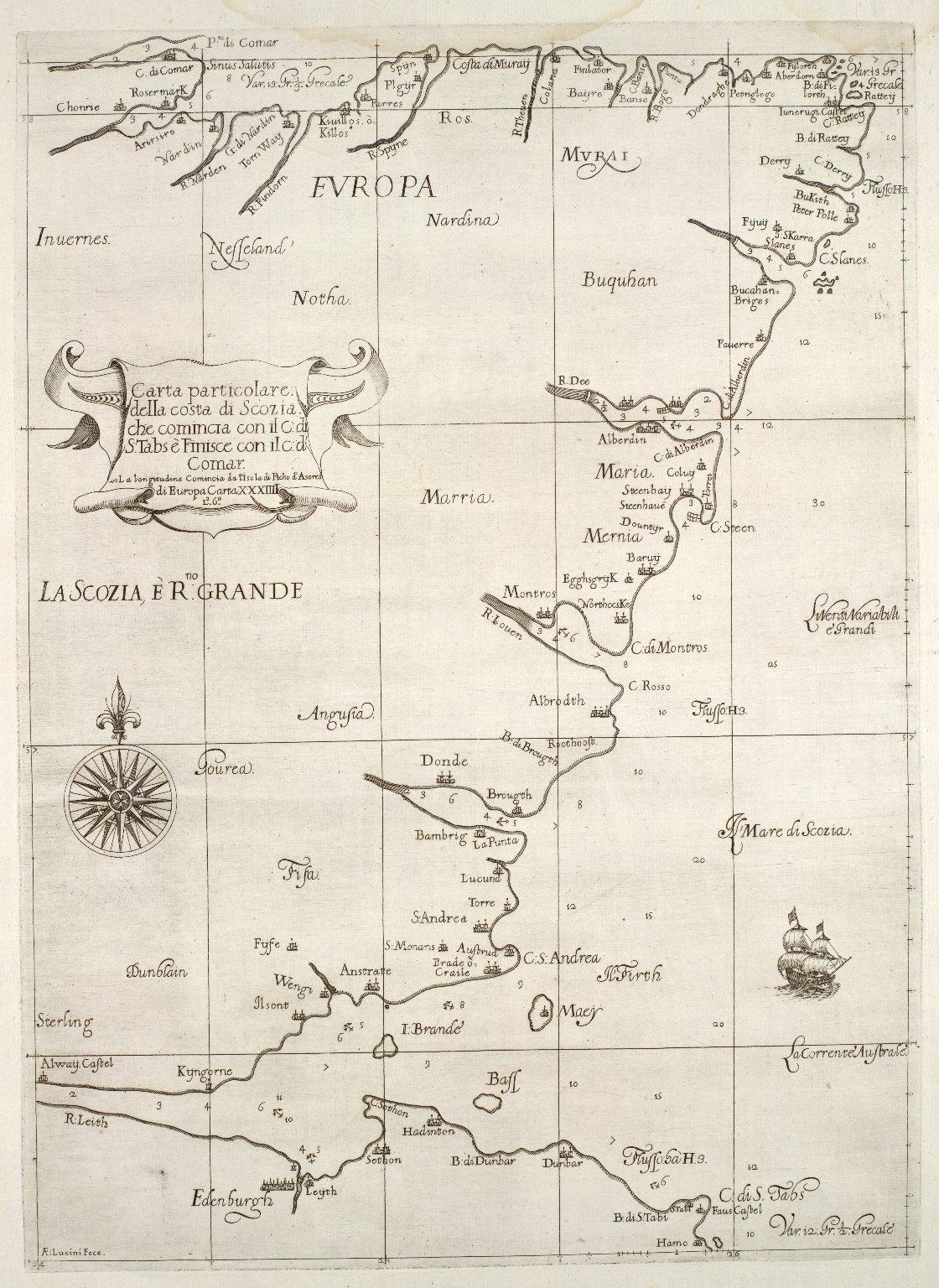 Carta particolare della costa di Scozia : che comincia con il c.d. S. Tabs è finisce con il c.d' Comar : la longitudine comincia da l'Isola di Picho d'Asores di Europa Carta XXXIIII [1 of 1]