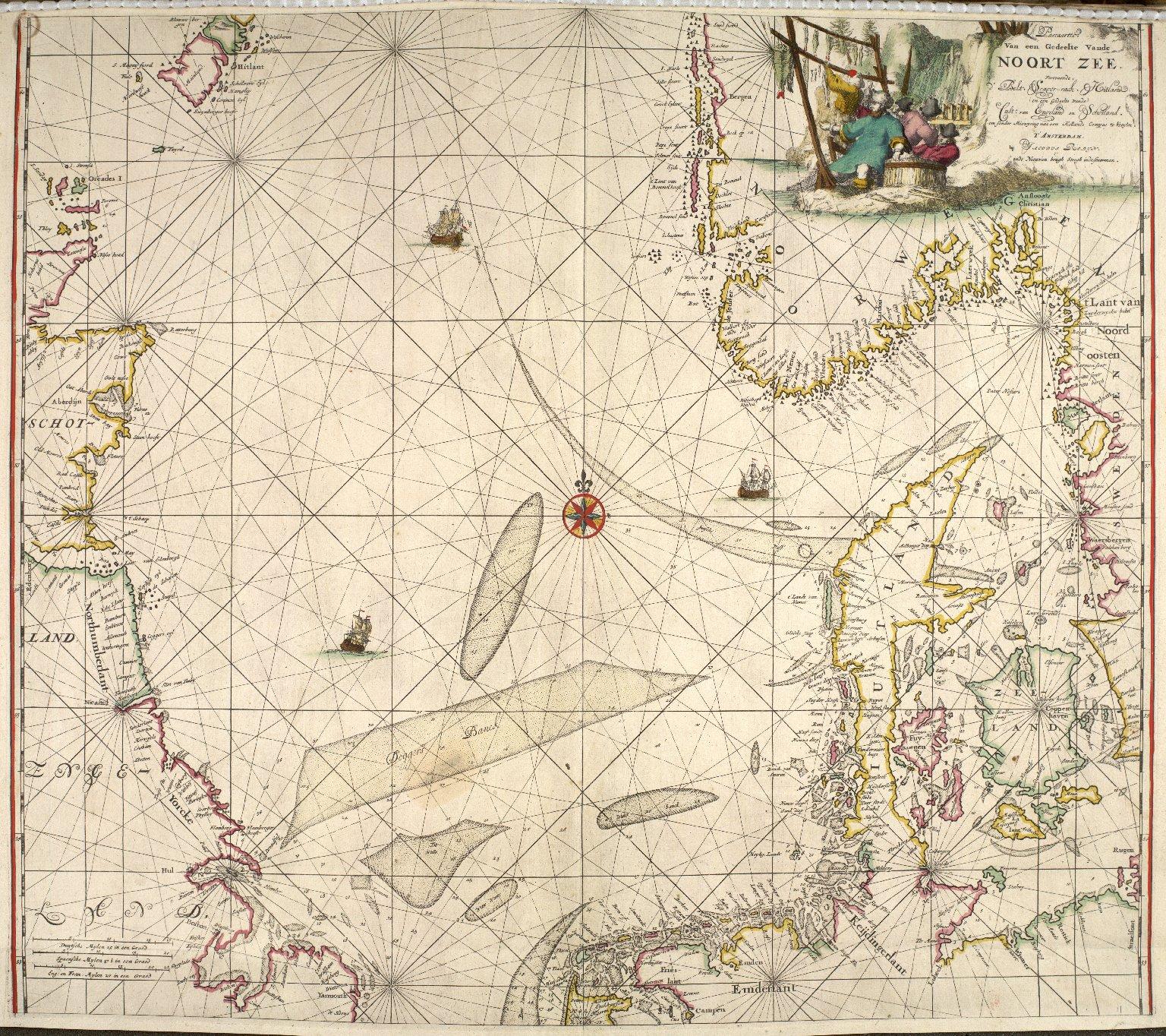 Paascaartti, Van een Gedeelte Vande Noorte Zee : Vertonende d' Belt, Scagcr-raak, Hitland, en een Gedeelte Vande Cust, van Engeland en Schotland [1 of 1]