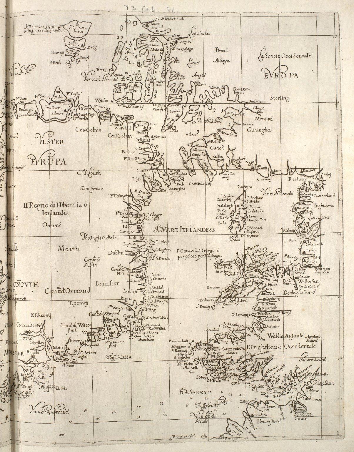 Carta particolare dell Mare di Ierlandia, é parte di Inghilterra, é della Iscotia ... : La longitudine comincia da l'Isola di Picho d'Asores di Europa Carta XXVIII [2 of 2]