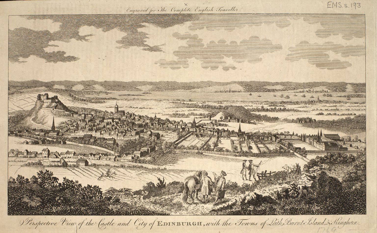 Perspective View of the Castle and City of Edinburgh, with the Towns of Leith, Burnt Island & Kinghorn. [1 of 1]