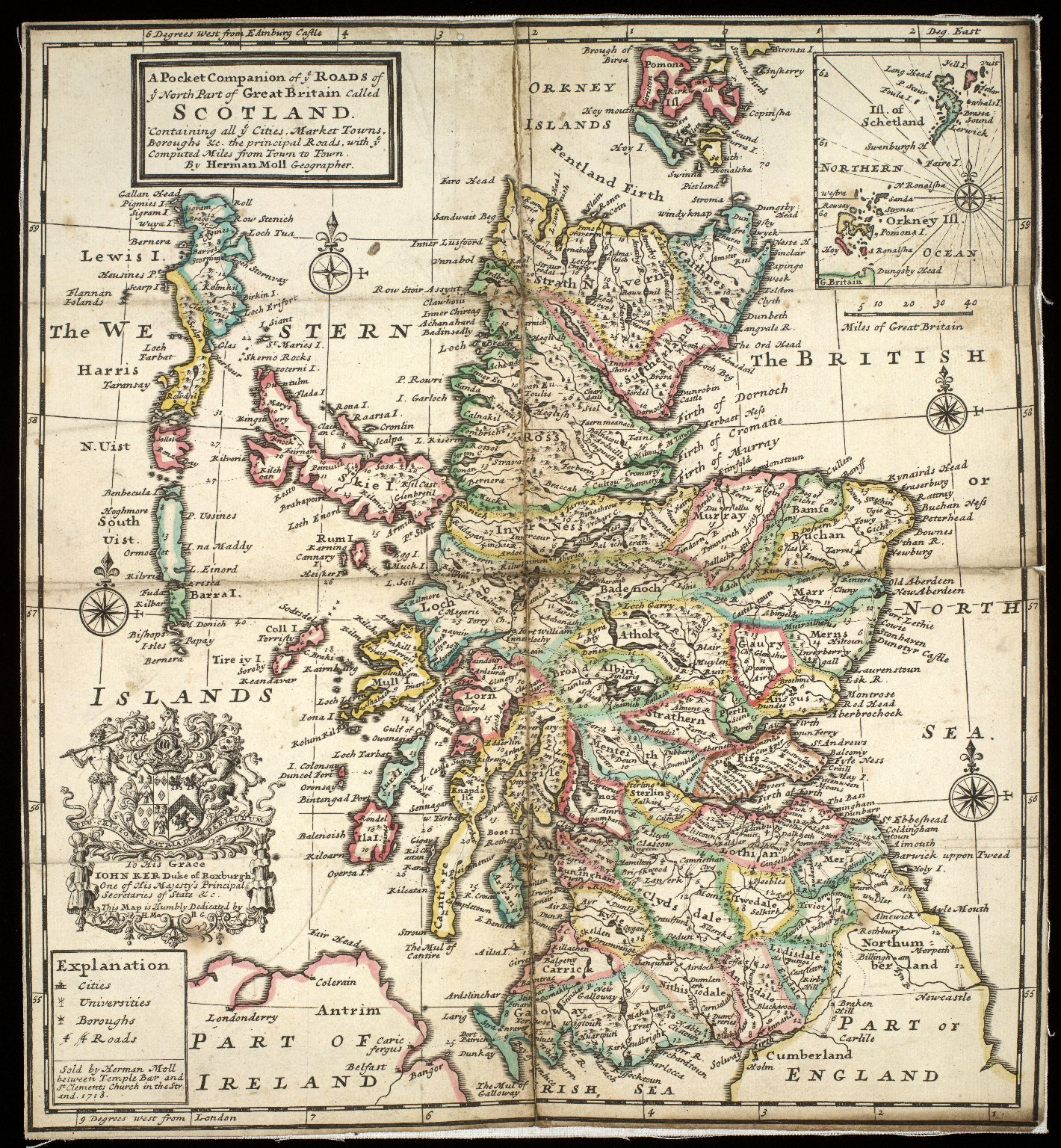 A Pocket Companion of ye Roads of ye North Part of Great Britain called Scotland : Containing all ye Cities, Market Towns, Boroughs &c., the principal Roads, with ye Computed Miles from Town to Town / By Herman Moll. [1 of 1]