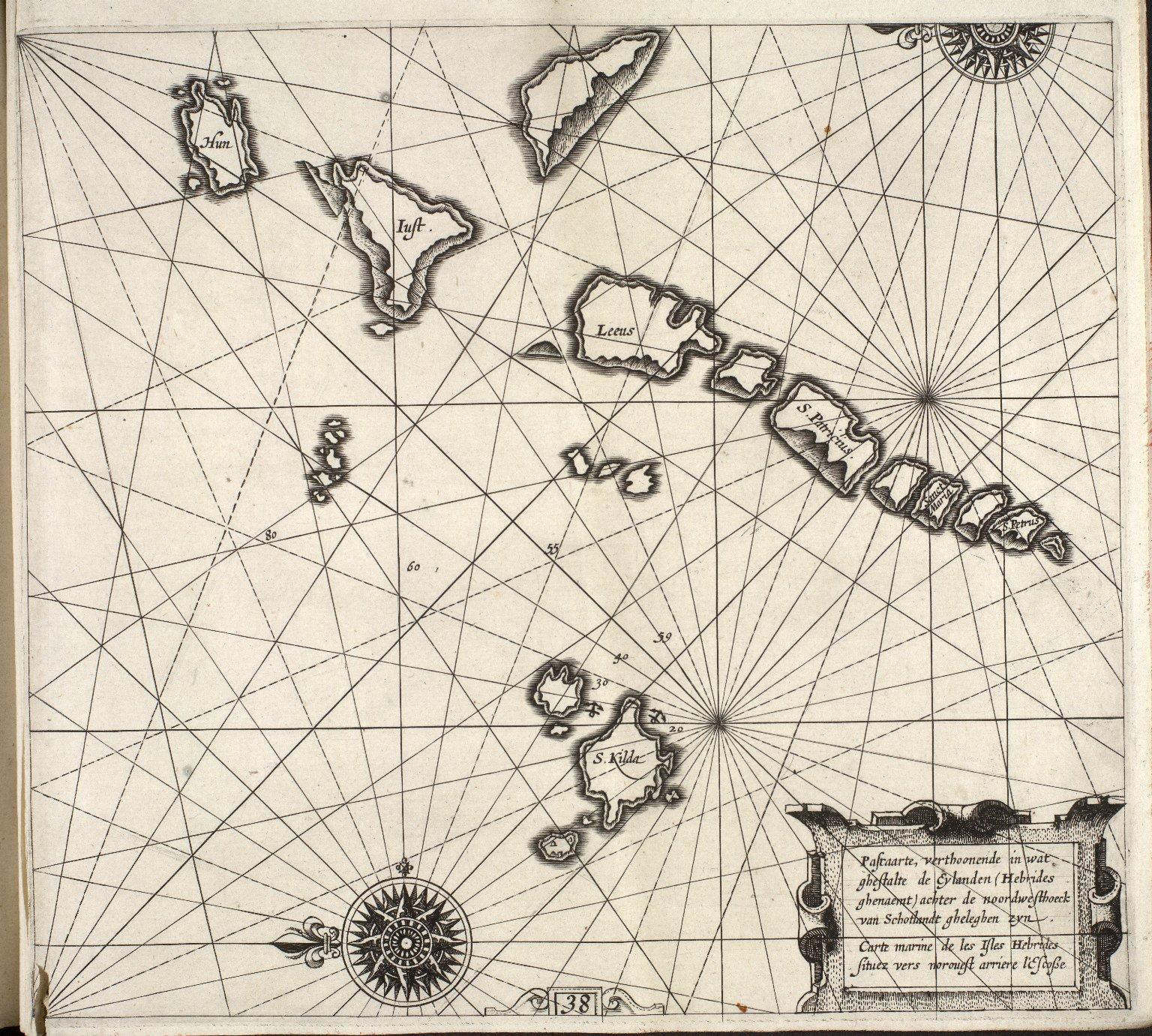 Pascaarte, verthoonende in wat ghestalte de Eylanden (Hebrides ghenaemt) achter de noordwesthoek van Schotlandt gheleghen zijn : [1 of 1]