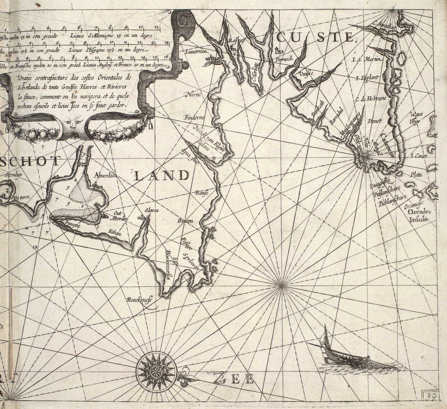 Ware afbeeldinghe vande Oostelycke Zeecusten van Schotlandt, van alle Inwijcken Havenen en Rivieren, hoemen die beseijlen ende voor wat Clippen Droochten [...] [2 of 3]