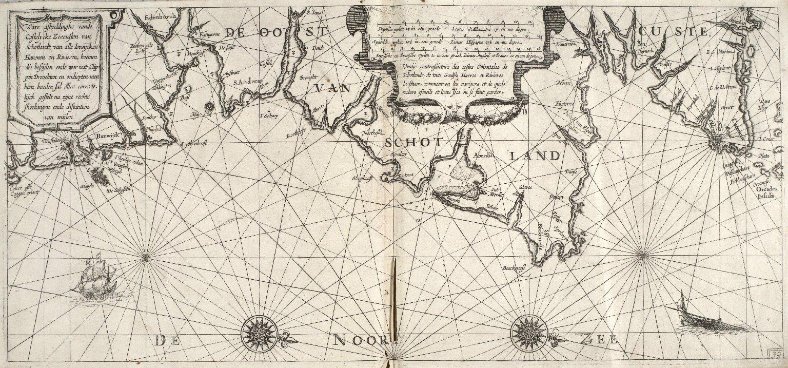 Ware afbeeldinghe vande Oostelycke Zeecusten van Schotlandt, van alle Inwijcken Havenen en Rivieren, hoemen die beseijlen ende voor wat Clippen Droochten [...] [3 of 3]