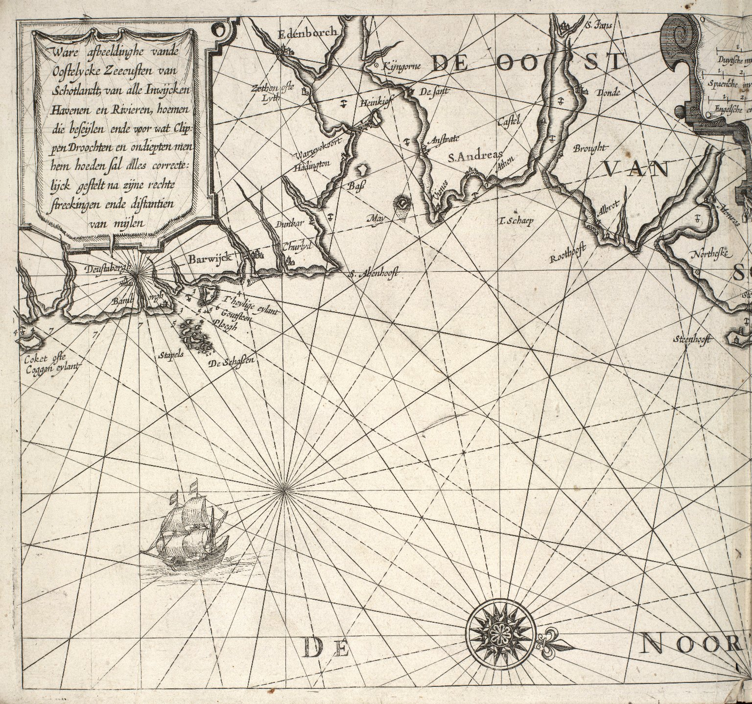 Ware afbeeldinghe vande Oostelycke Zeecusten van Schotlandt, van alle Inwijcken Havenen en Rivieren, hoemen die beseijlen ende voor wat Clippen Droochten [...] [1 of 3]