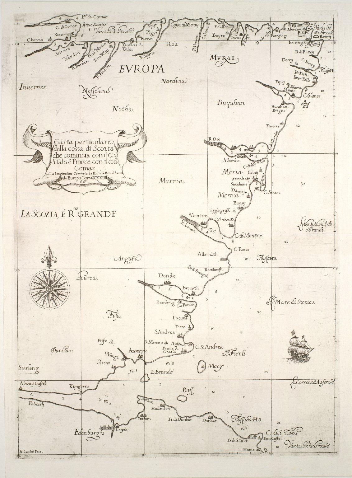 Carte particolare della costa di Scozia : che comincia con il c.d. S. Tabs ae Finisce con il c.d' Comar. La longitudine Comincia l'Isola di Picho d'Asores di Europa Carta XXXIIII / [1 of 1]