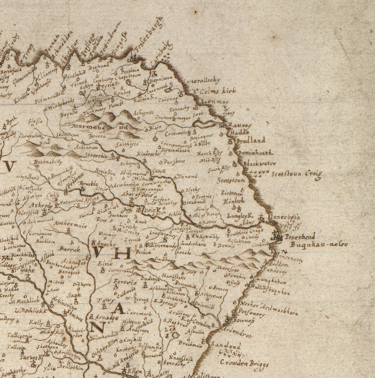 [Detail from:] Aberdeen, Banf, Murrey &c. to Invernes. Fra the north water to Ross. [1 of 1]