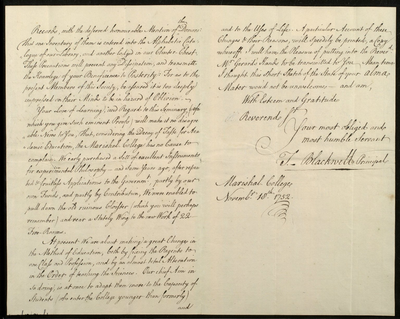 [Letter from Thomas Blackwell, Marischal College, Aberdeen, to Bishop Robert Keith, 18 November 1752] [2 of 3]