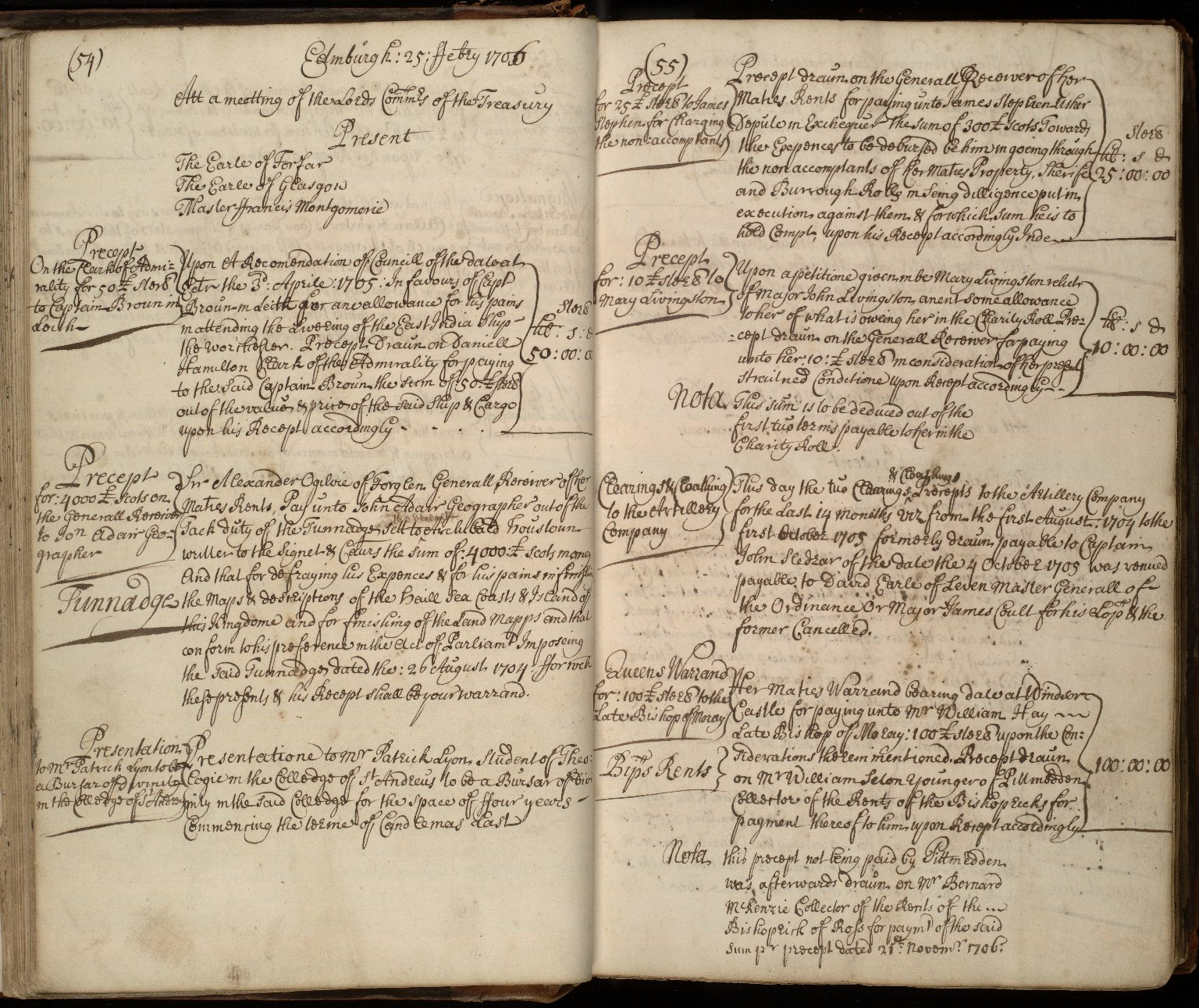 [Minute of 25 February 1706, recording:] Precept for £4000 Scots on the General Receiver to Jon Adair, geographer. [1 of 1]