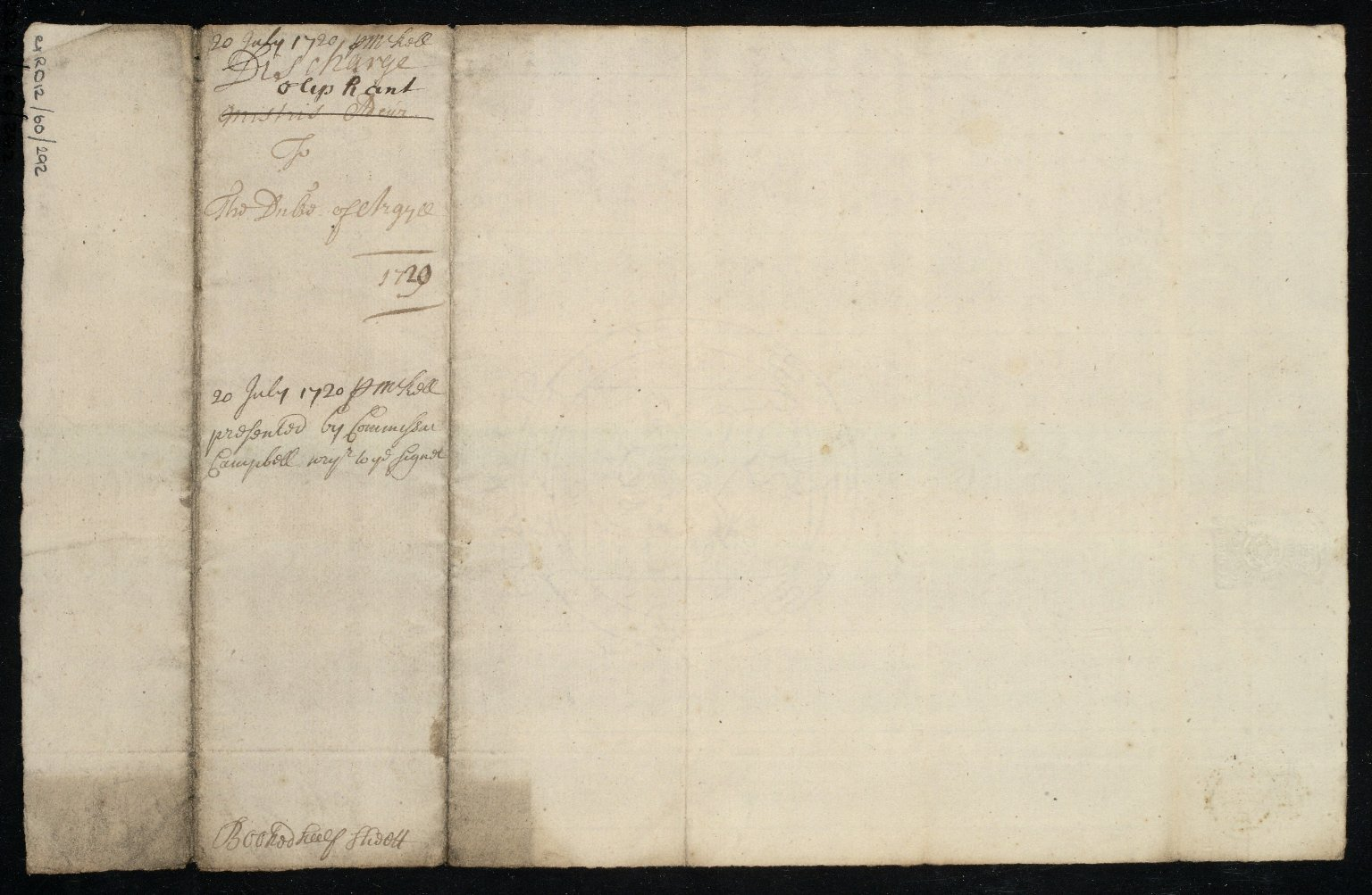 [Receipt. Jean Oliphant to Duke of Argyll for £21 sterling for a plan done by John Adair of the lands around Inverary] [2 of 2]