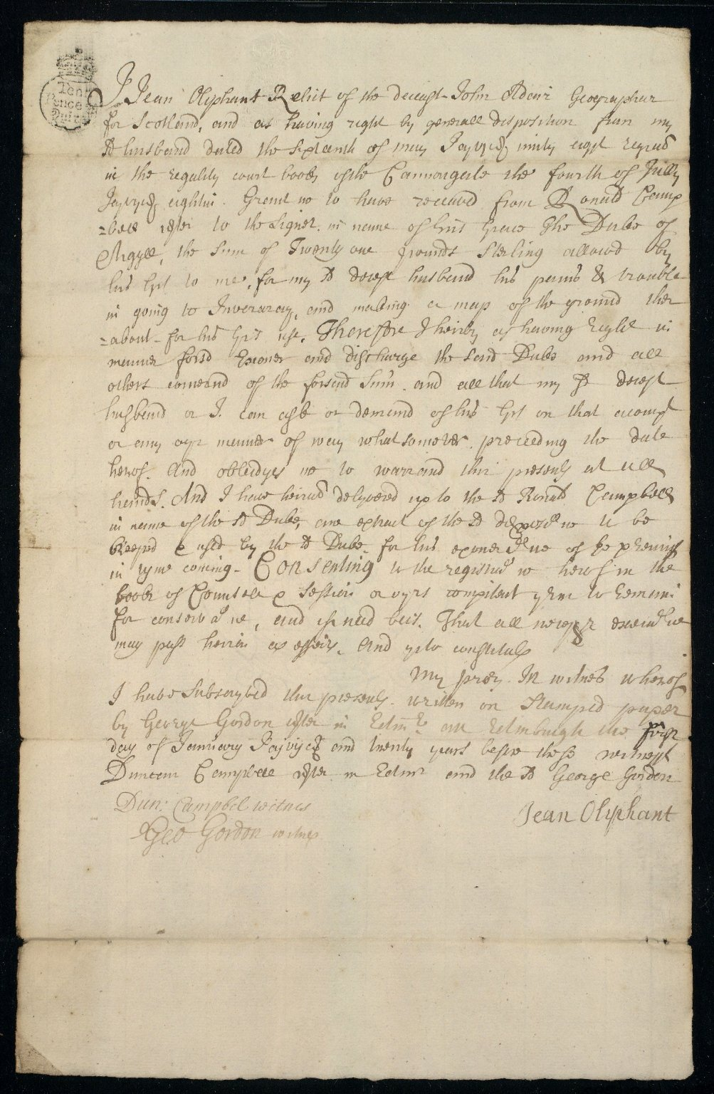 [Receipt. Jean Oliphant to Duke of Argyll for £21 sterling for a plan done by John Adair of the lands around Inverary] [1 of 2]