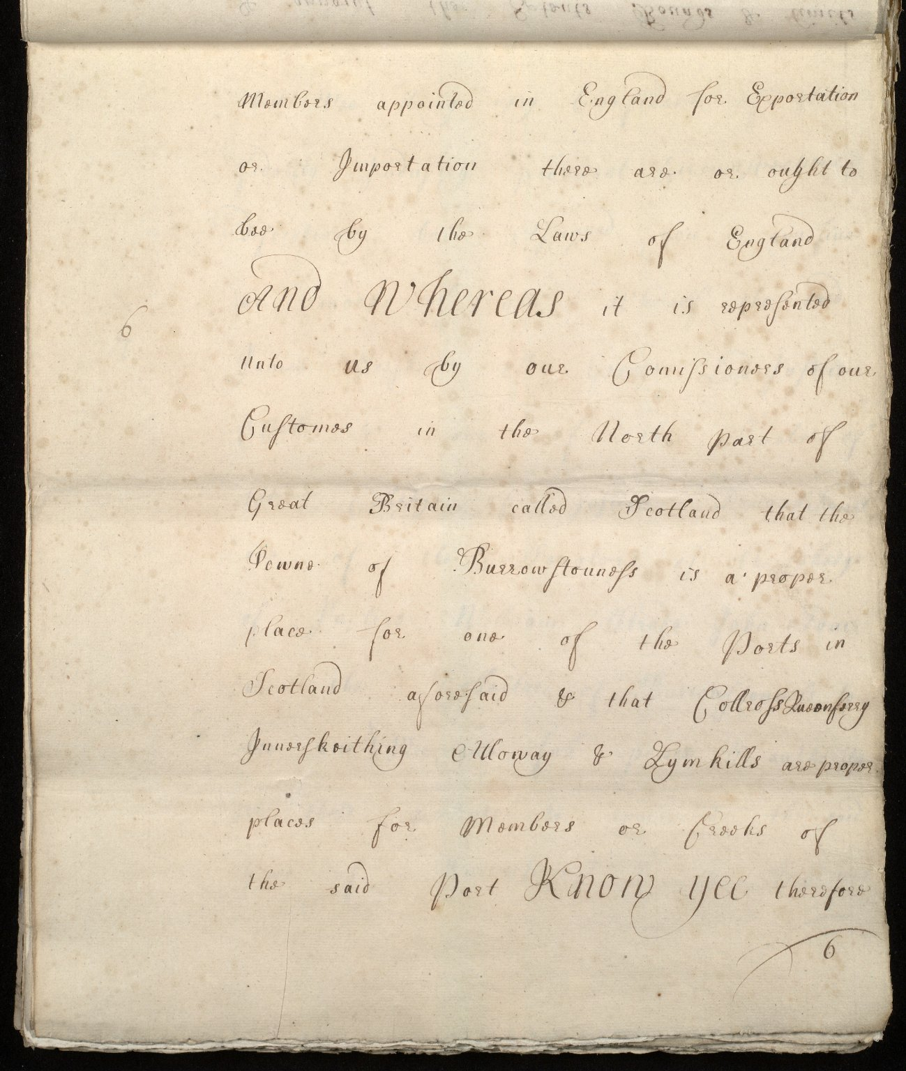[Commission by Queen Anne to John Adair and others to appoint the town of Borrowstounness (Bo'ness) to be a port and to fix the bounds thereof] [06 of 39]