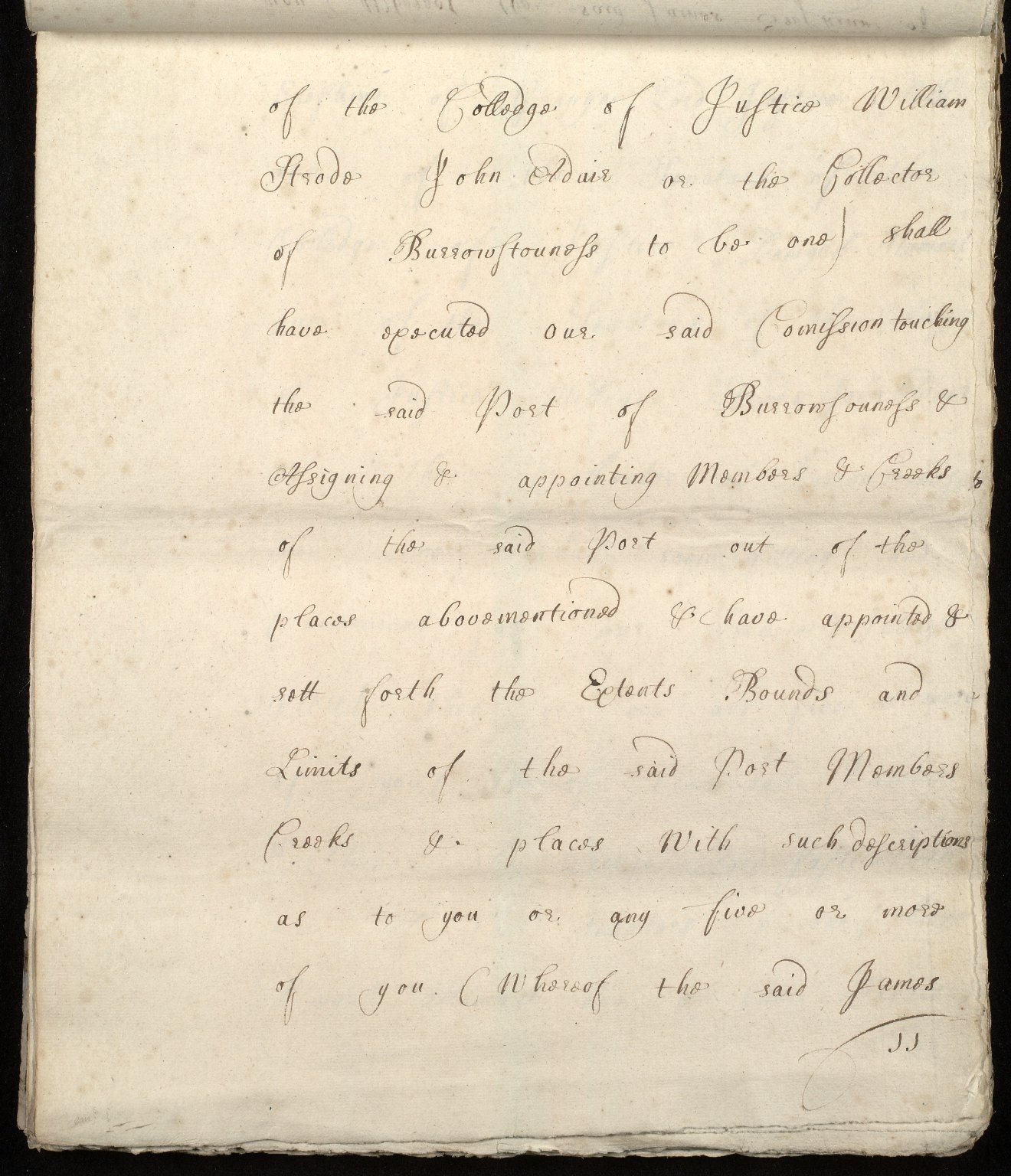 [Commission by Queen Anne to John Adair and others to appoint the town of Borrowstounness (Bo'ness) to be a port and to fix the bounds thereof] [11 of 39]