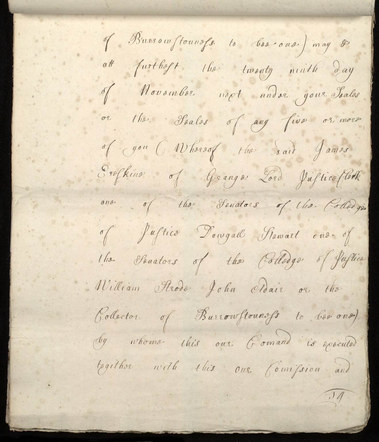 [Commission by Queen Anne to John Adair and others to appoint the town of Borrowstounness (Bo'ness) to be a port and to fix the bounds thereof] [14 of 39]