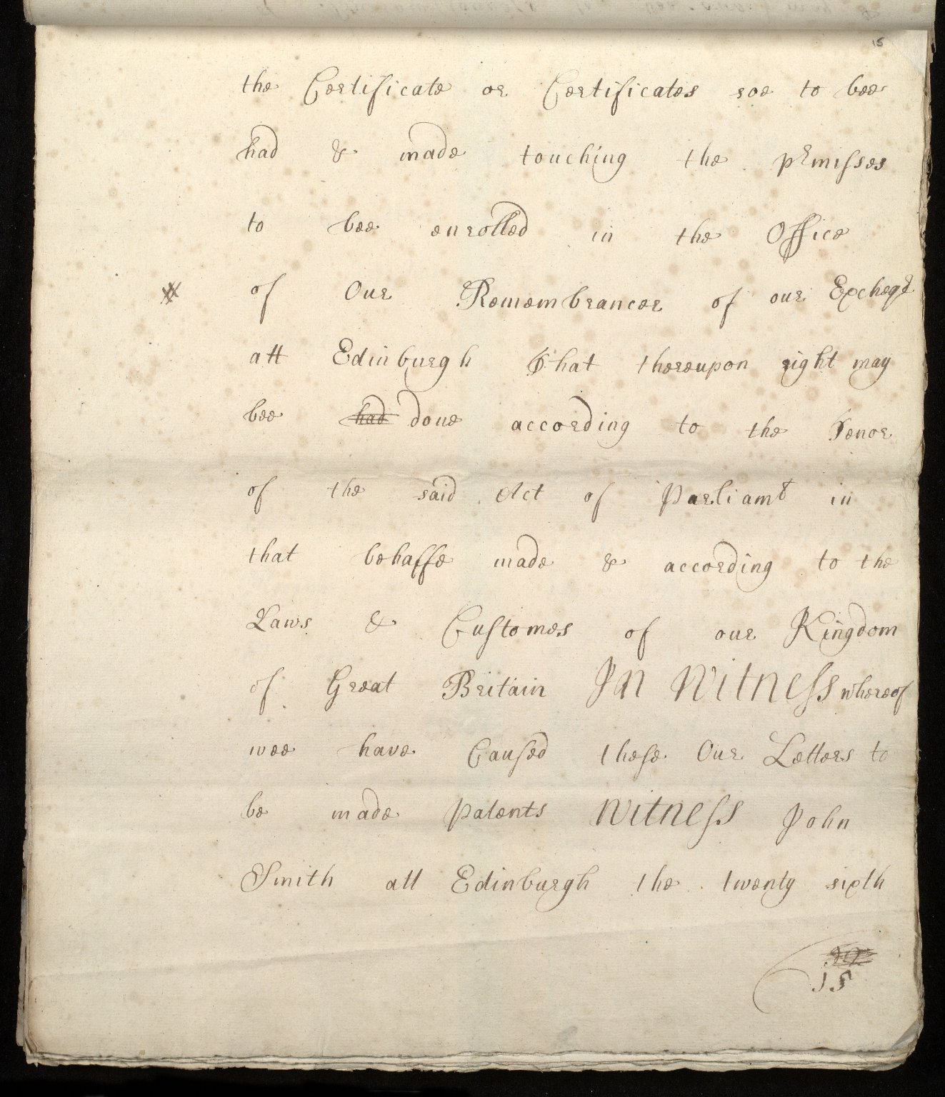[Commission by Queen Anne to John Adair and others to appoint the town of Borrowstounness (Bo'ness) to be a port and to fix the bounds thereof] [15 of 39]