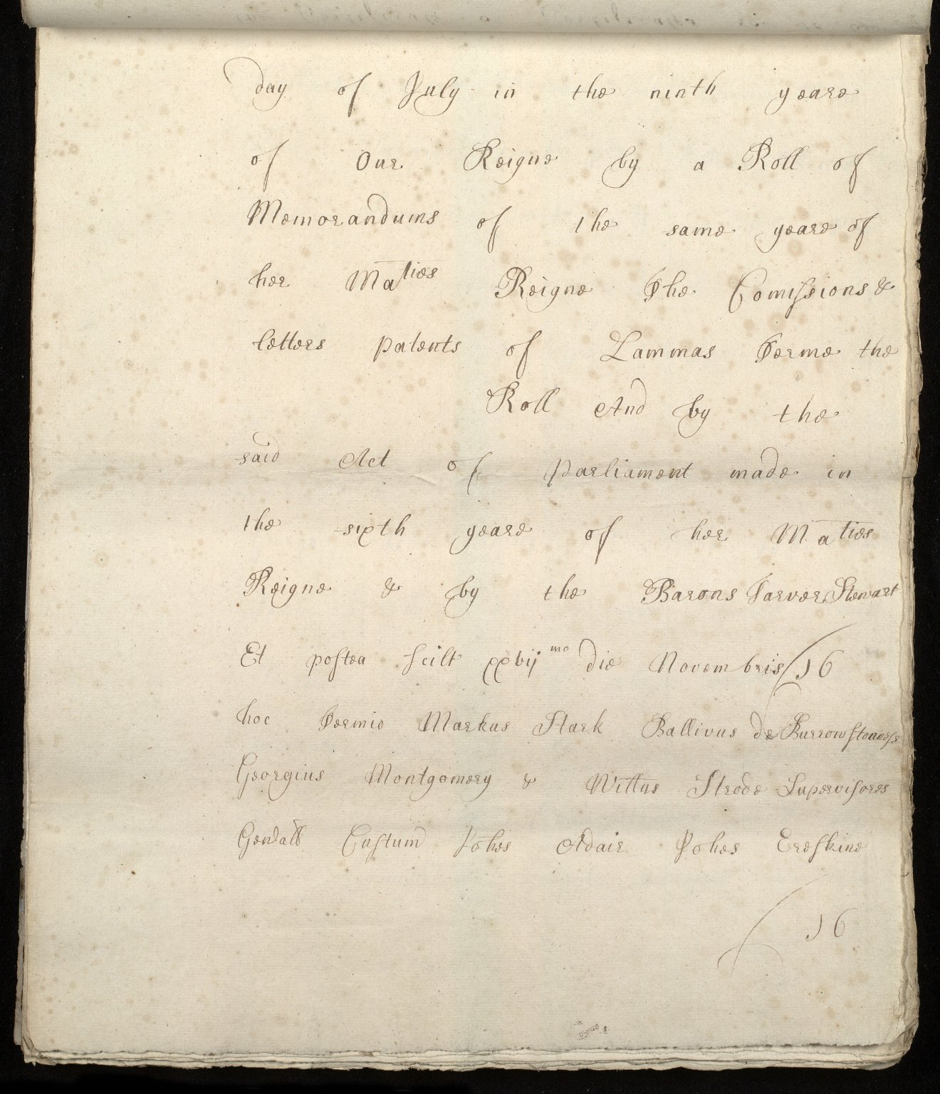 [Commission by Queen Anne to John Adair and others to appoint the town of Borrowstounness (Bo'ness) to be a port and to fix the bounds thereof] [16 of 39]