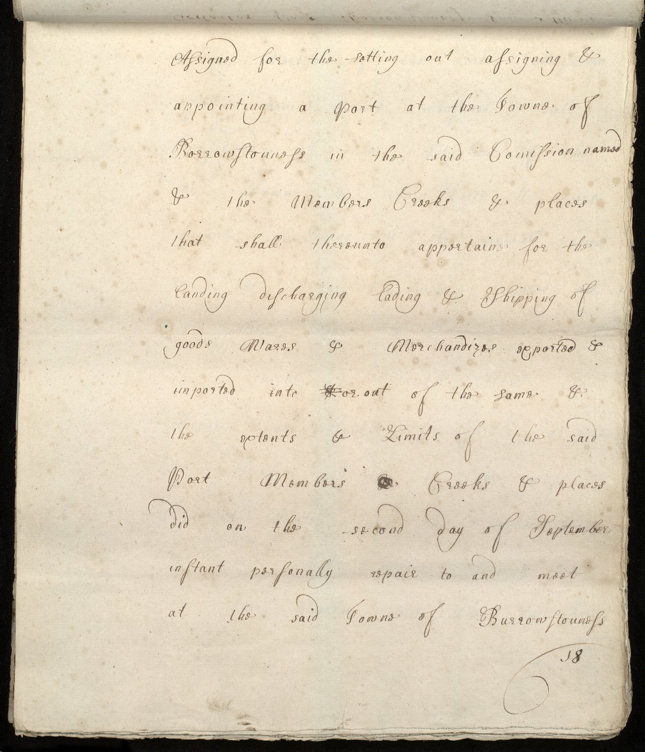 [Commission by Queen Anne to John Adair and others to appoint the town of Borrowstounness (Bo'ness) to be a port and to fix the bounds thereof] [18 of 39]