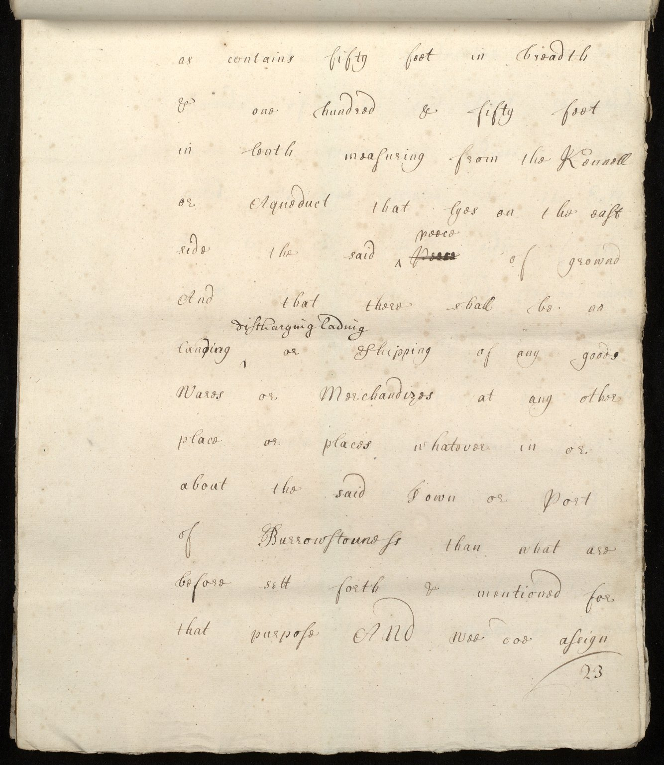 [Commission by Queen Anne to John Adair and others to appoint the town of Borrowstounness (Bo'ness) to be a port and to fix the bounds thereof] [23 of 39]