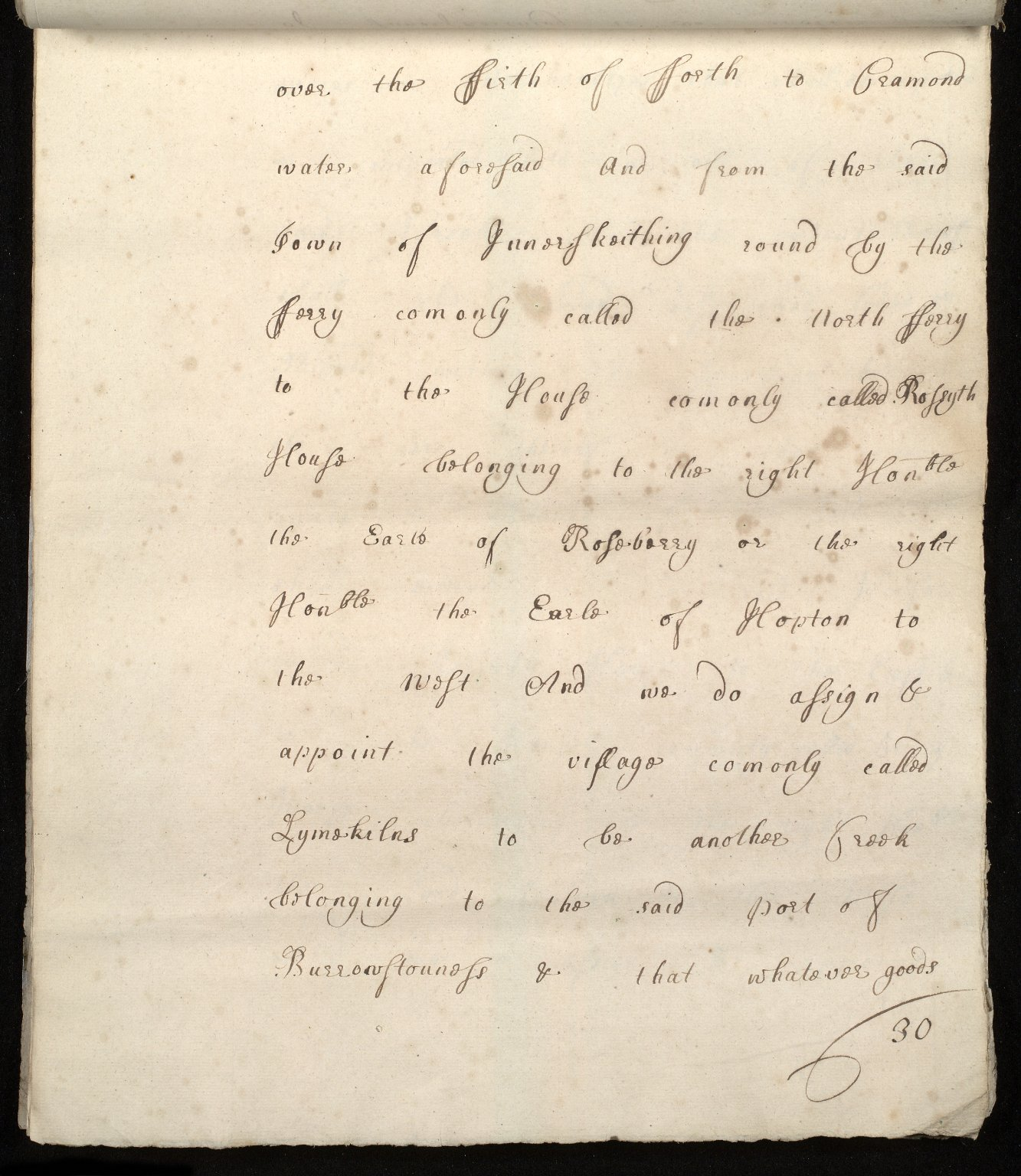 [Commission by Queen Anne to John Adair and others to appoint the town of Borrowstounness (Bo'ness) to be a port and to fix the bounds thereof] [30 of 39]
