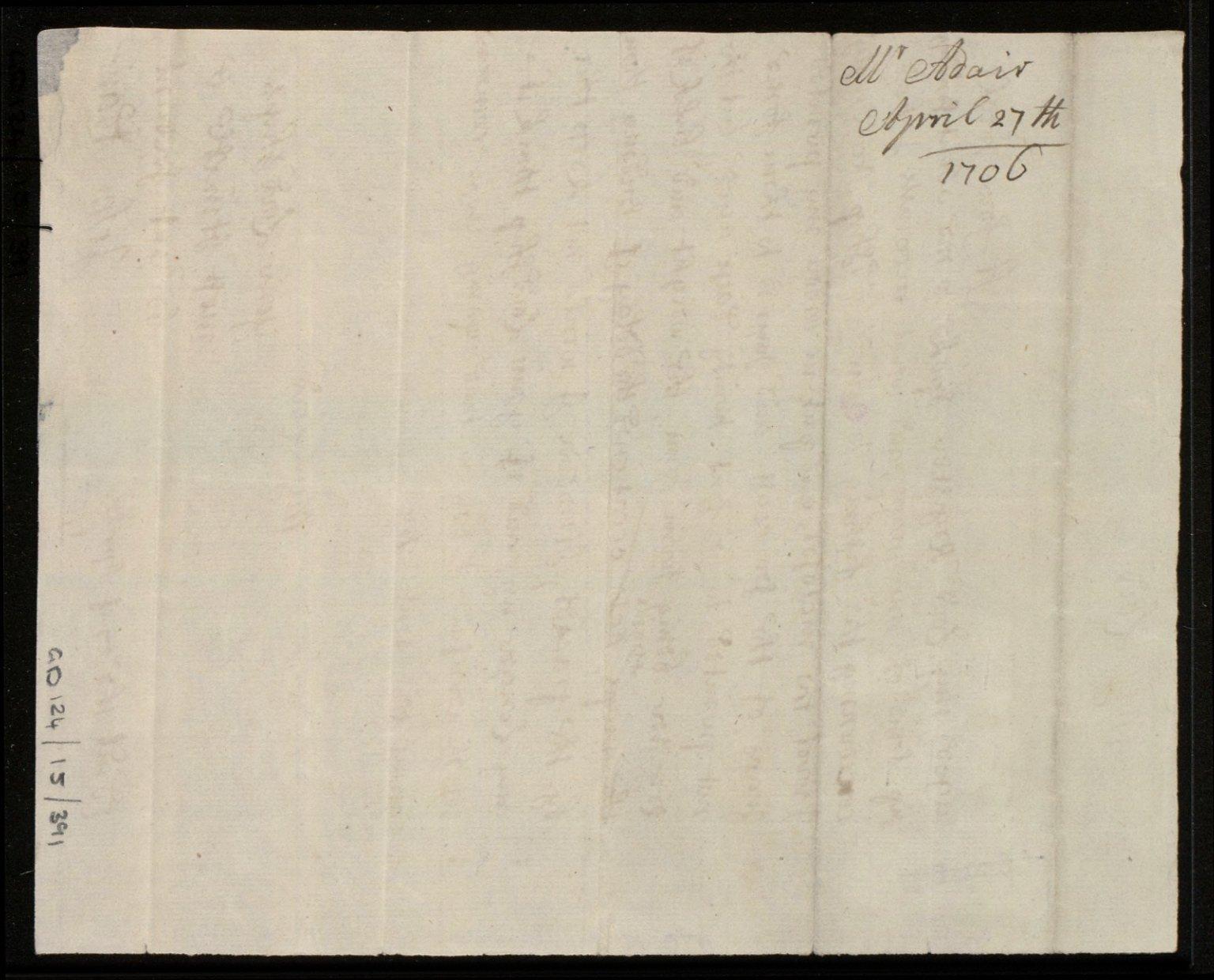 [Letter from John Adair, Edinburgh, to the Earl of Mar regarding Mar's request for Adair's maps] [2 of 2]