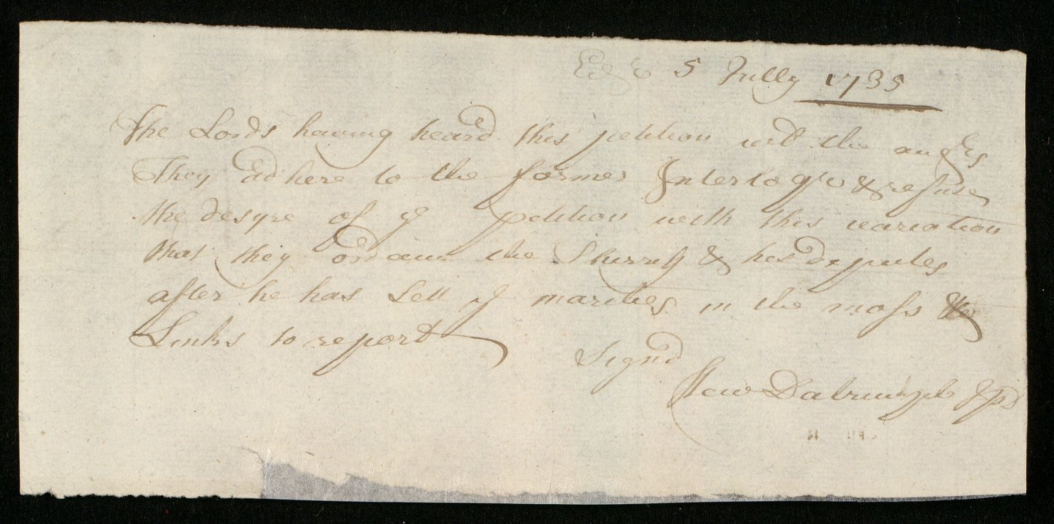 [Copy of the interlocutor pronounced on the case of Fraser against Buchan, 5 July 1735] [1 of 2]