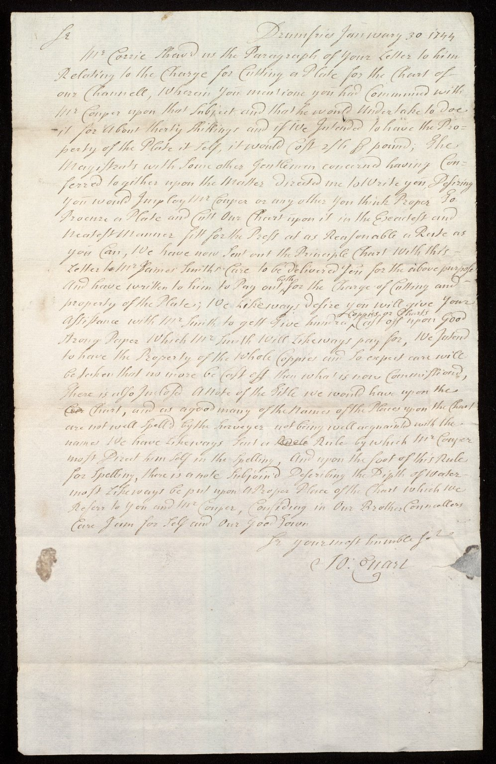 [Letter from Provost Joseph Ewart, Dumfries, to George Clerk of Dumfries regarding the engraving and printing of Thomas Winter's chart of the Solway Firth (1742) by Richard Cooper] [1 of 2]